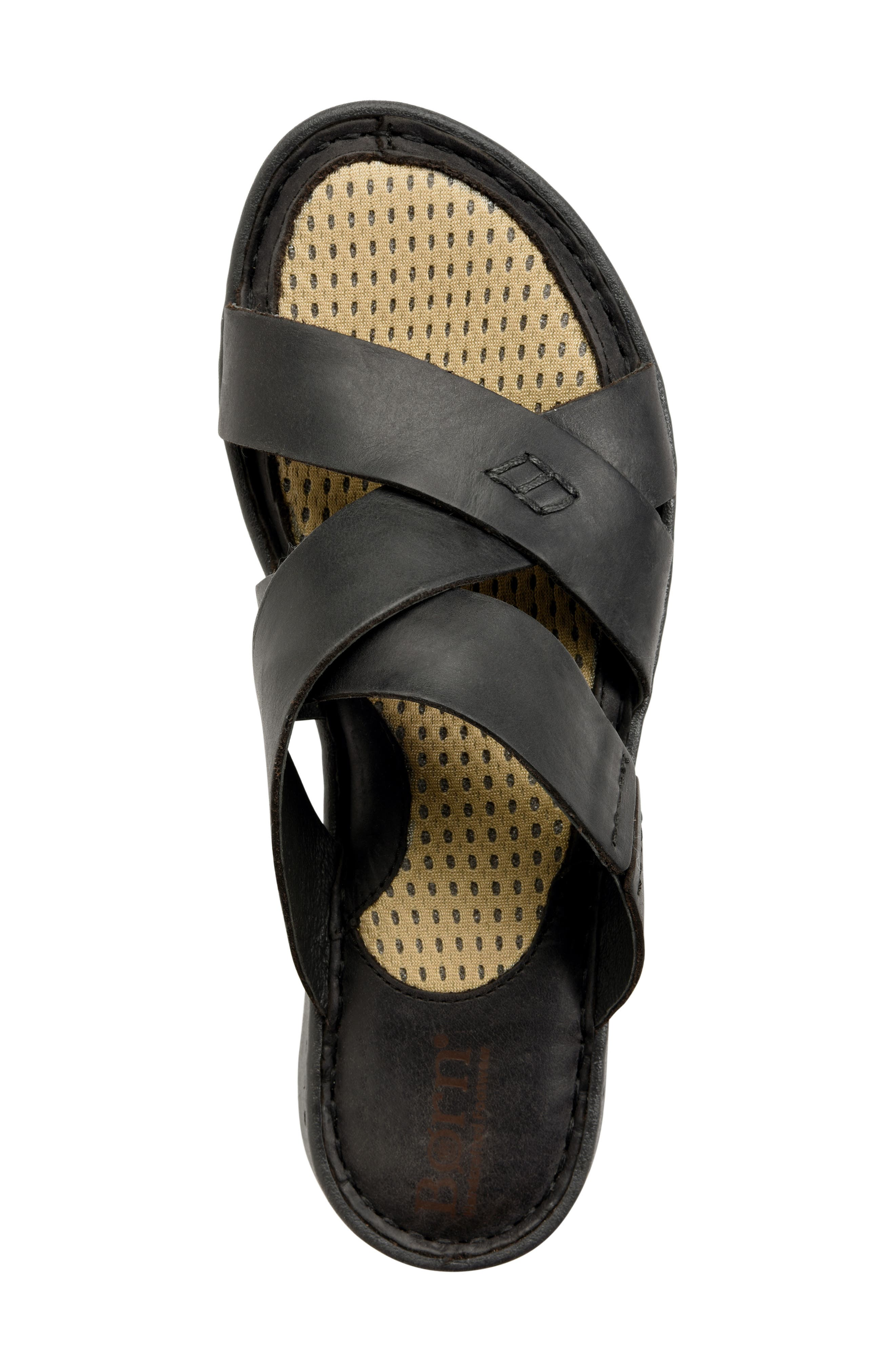 Hayka Asymmetrical Slide Sandal,                             Alternate thumbnail 5, color,                             BLACK LEATHER