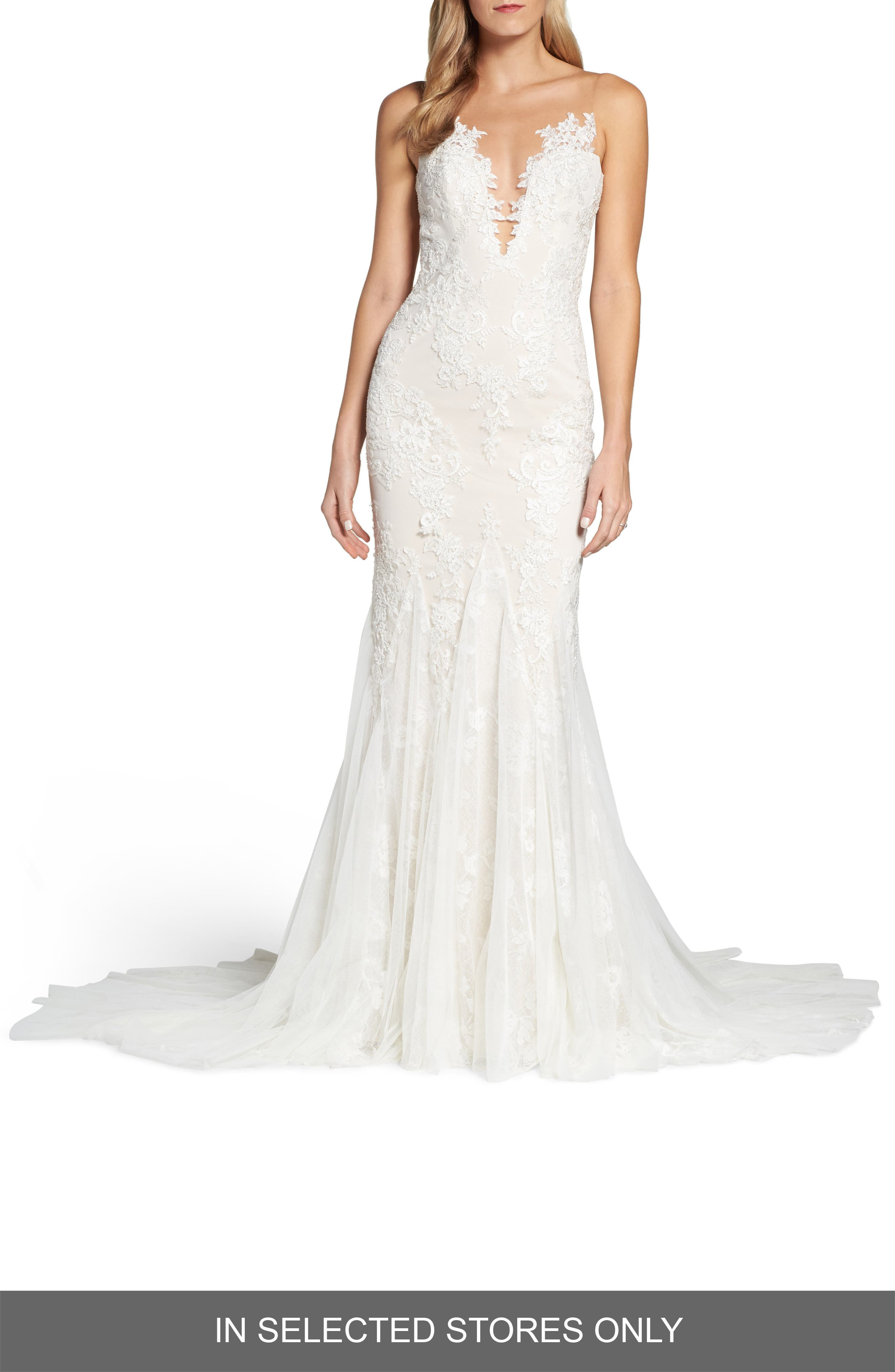 Daisy Illusion V-Neck Gown,                             Main thumbnail 1, color,                             OFF WHITE/ SOFT NUDE