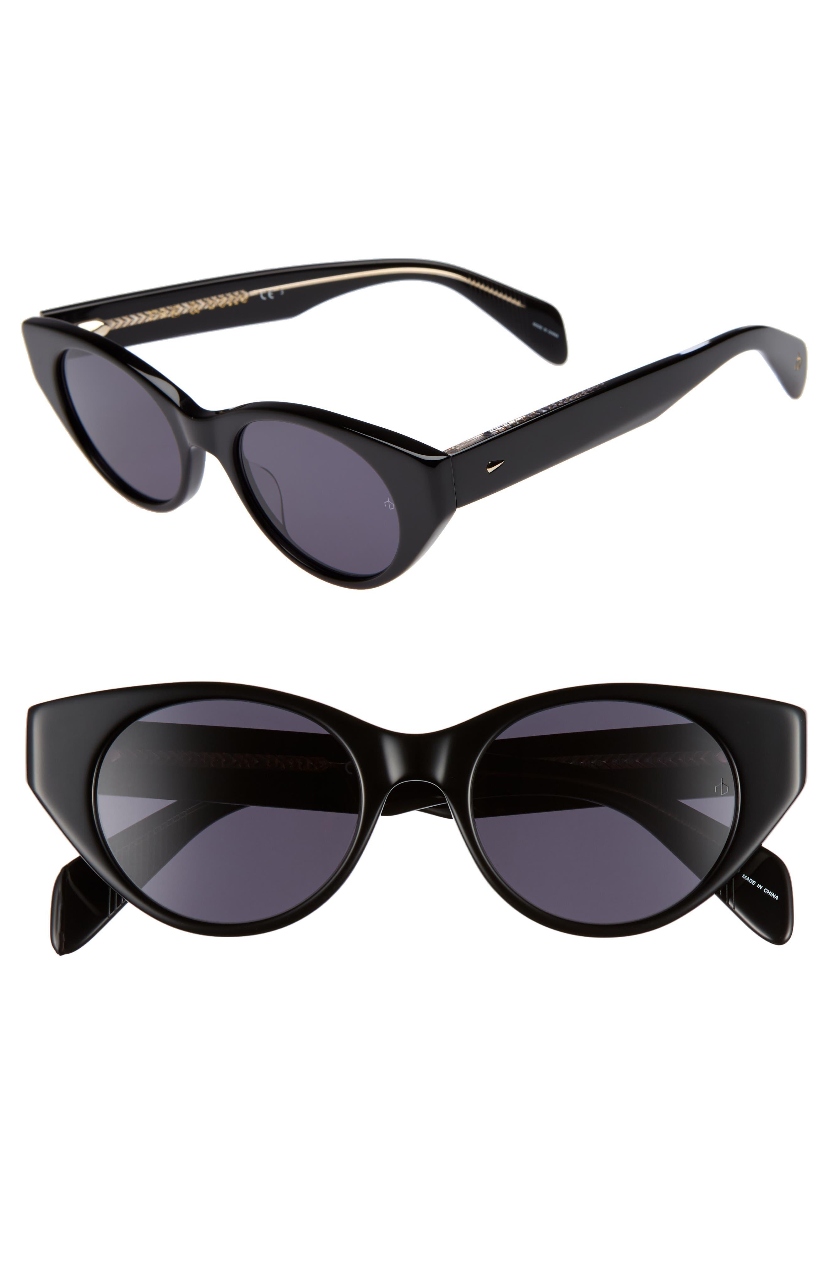 49mm Cat Eye Sunglasses,                             Main thumbnail 1, color,                             BLACK