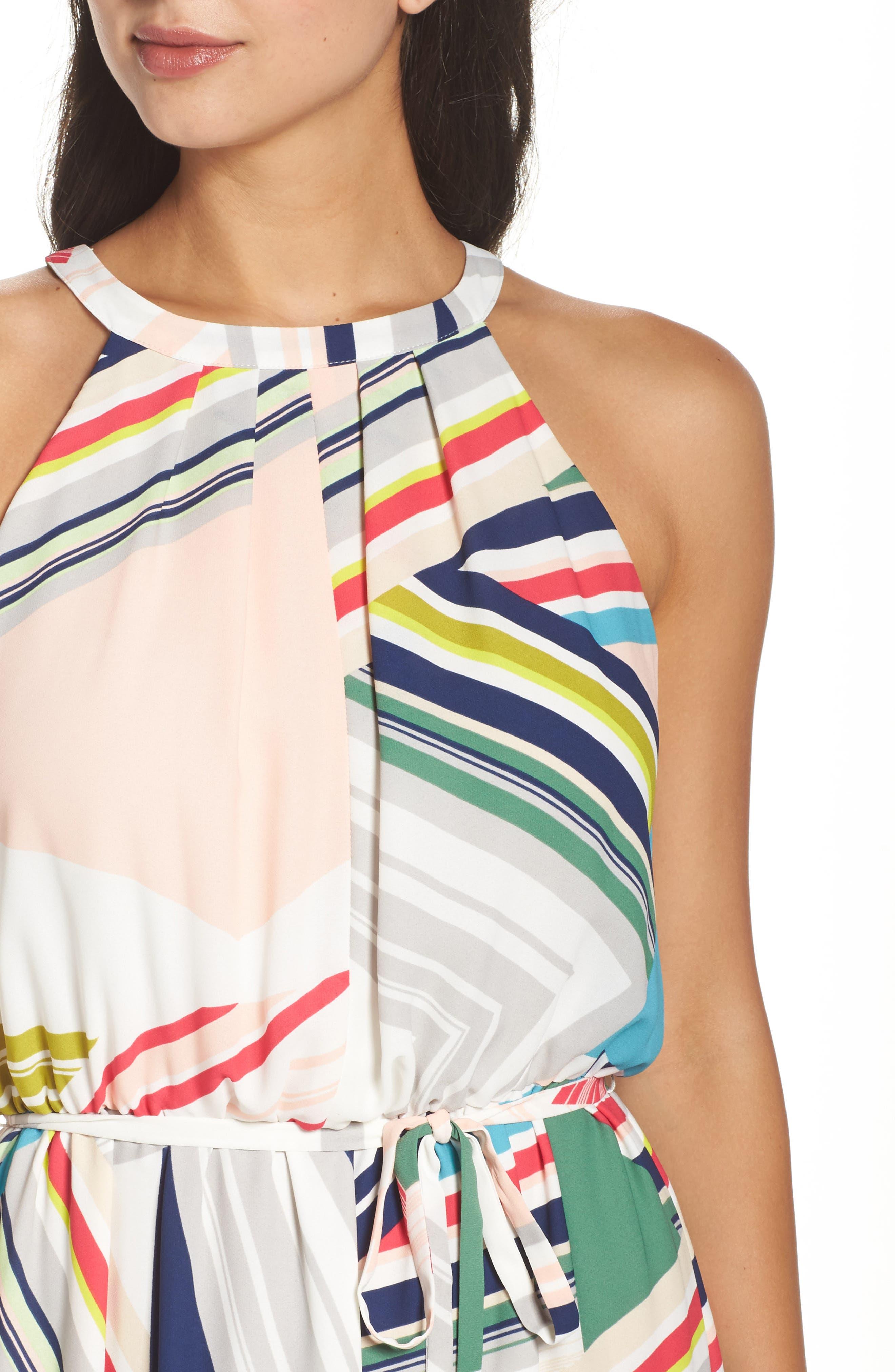 Stripe Maze Pleated Maxi Dress,                             Alternate thumbnail 4, color,                             196