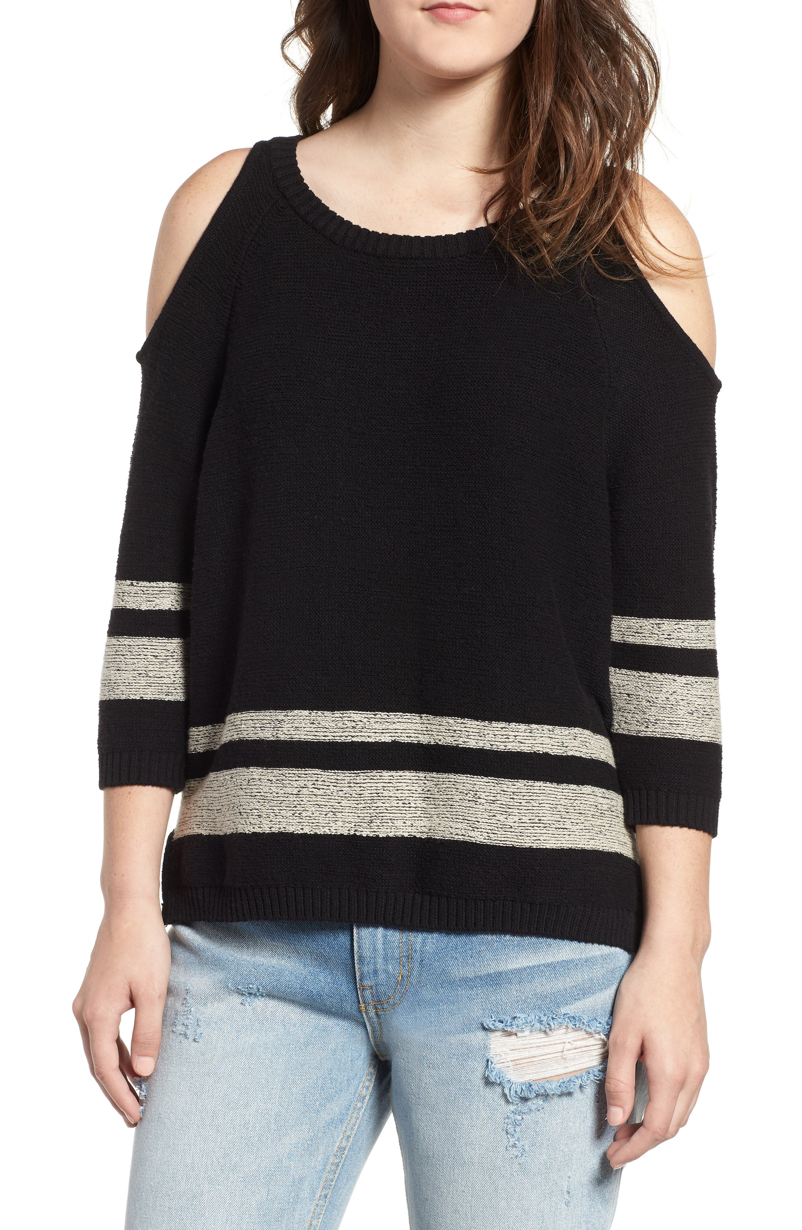 Marked Cold Shoulder Sweater,                             Main thumbnail 1, color,                             BLACK