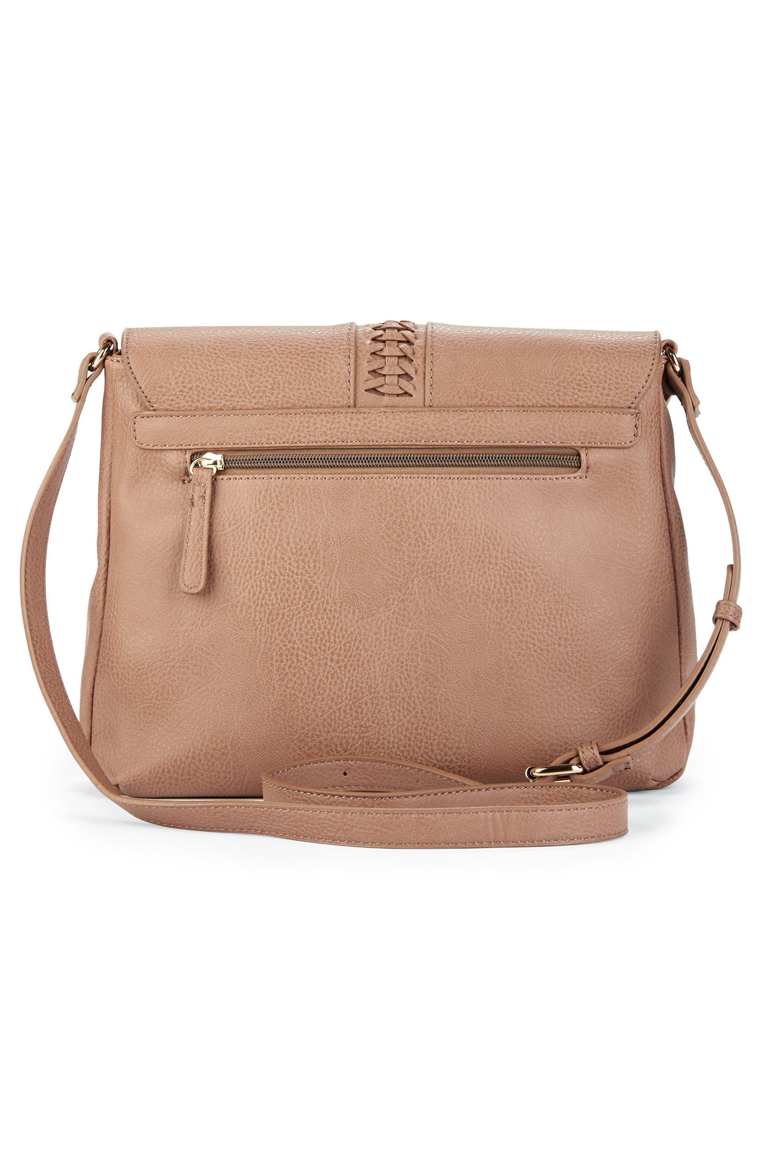 Tara Stitch Detail Faux Leather Crossbody Bag,                             Alternate thumbnail 3, color,                             020