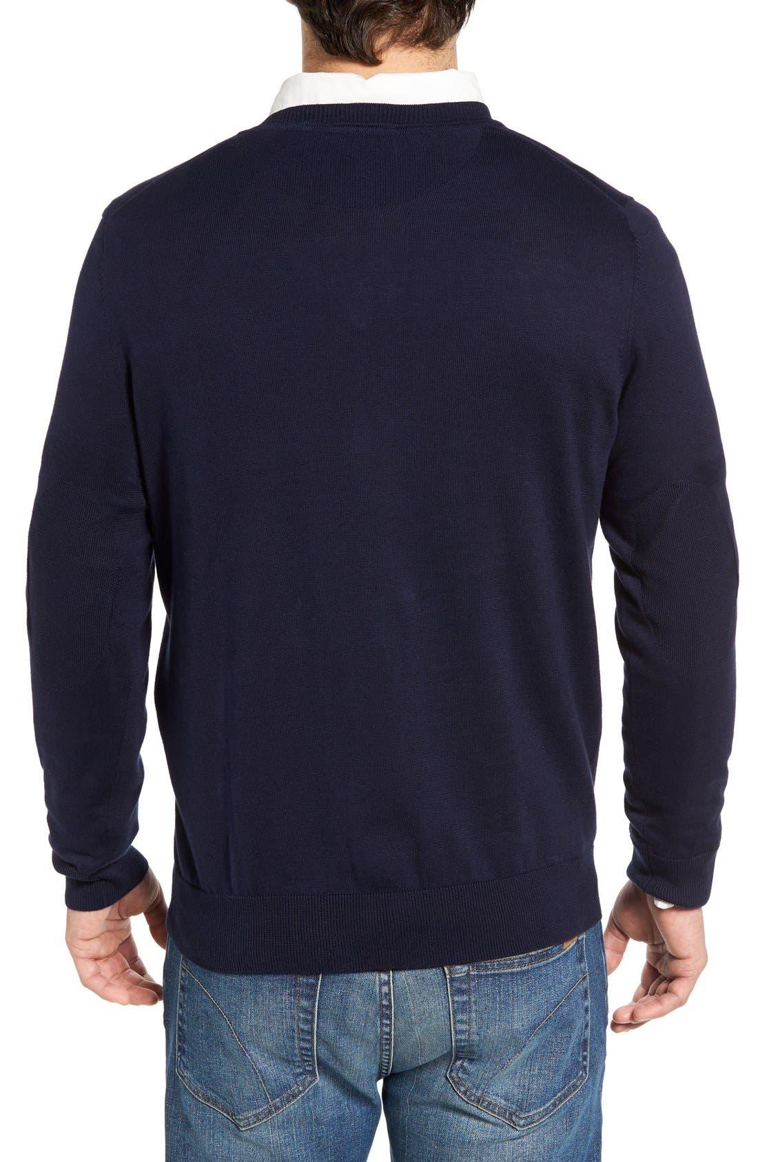Cotton Jersey V-Neck Sweater,                             Alternate thumbnail 17, color,