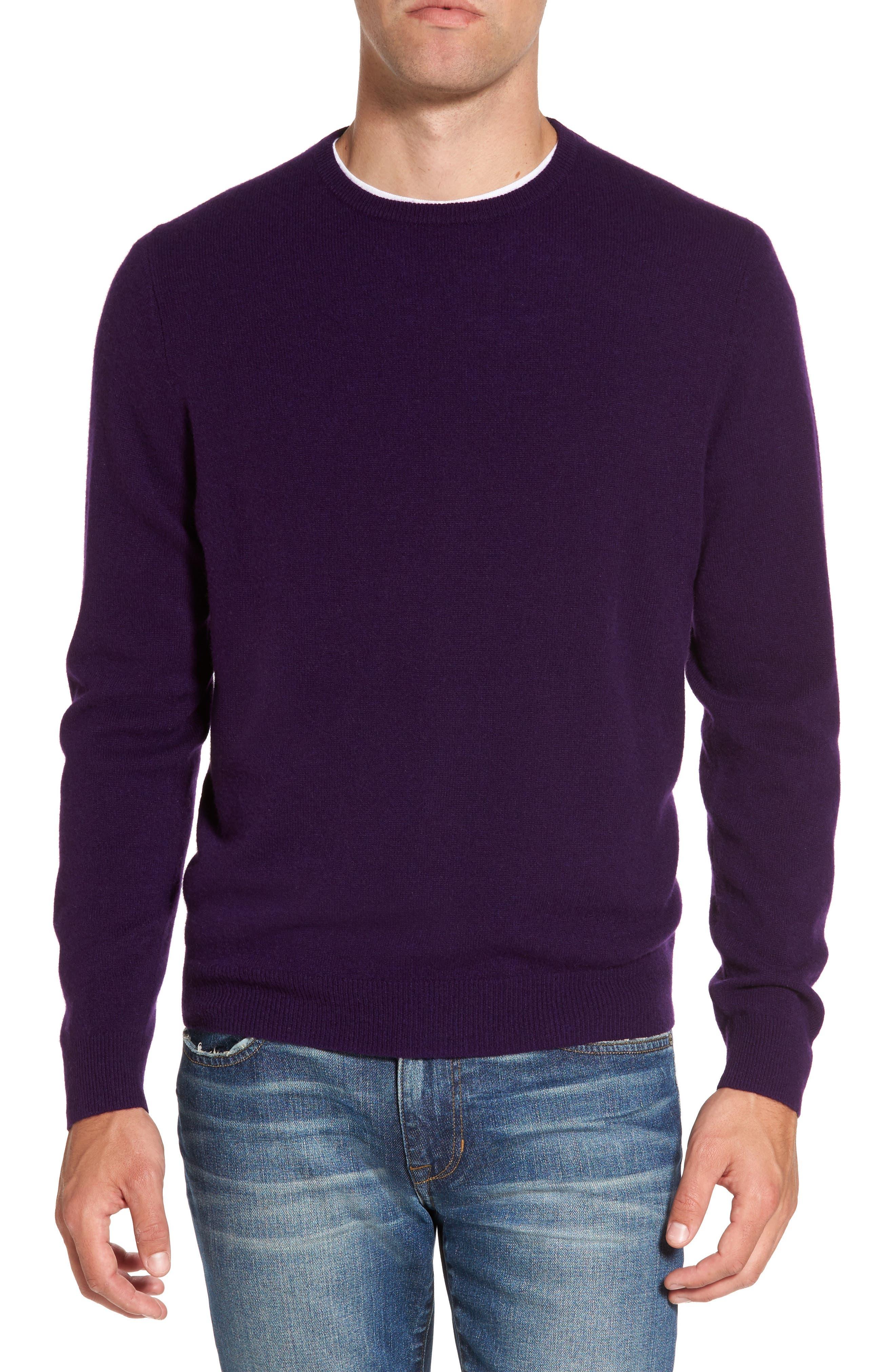Nordstrom Shop Cashmere Crewneck Sweater, Purple