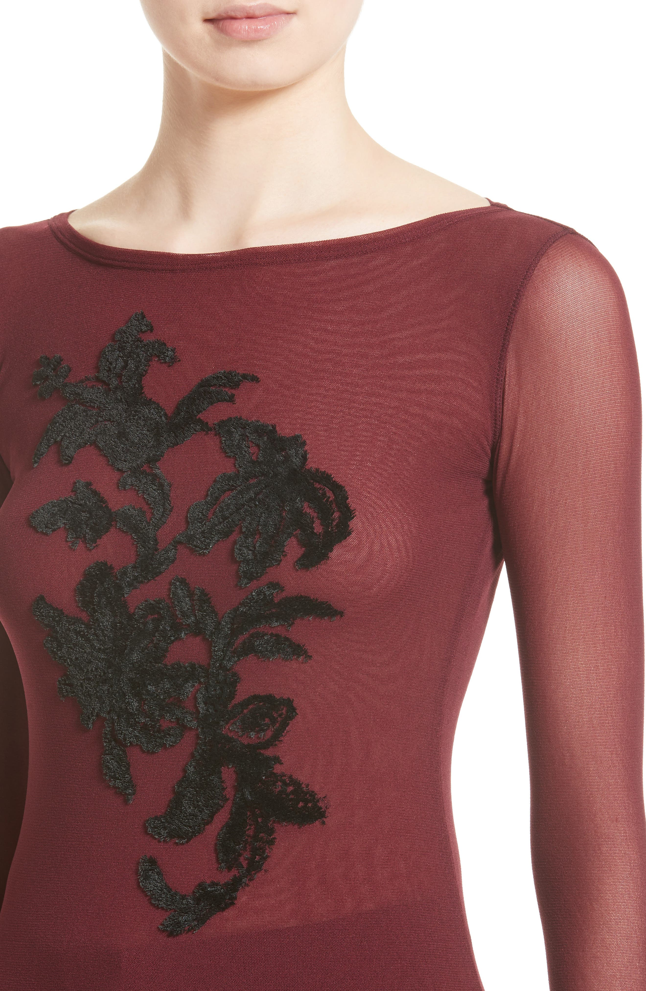 Embroidered Tulle Top,                             Alternate thumbnail 4, color,                             930