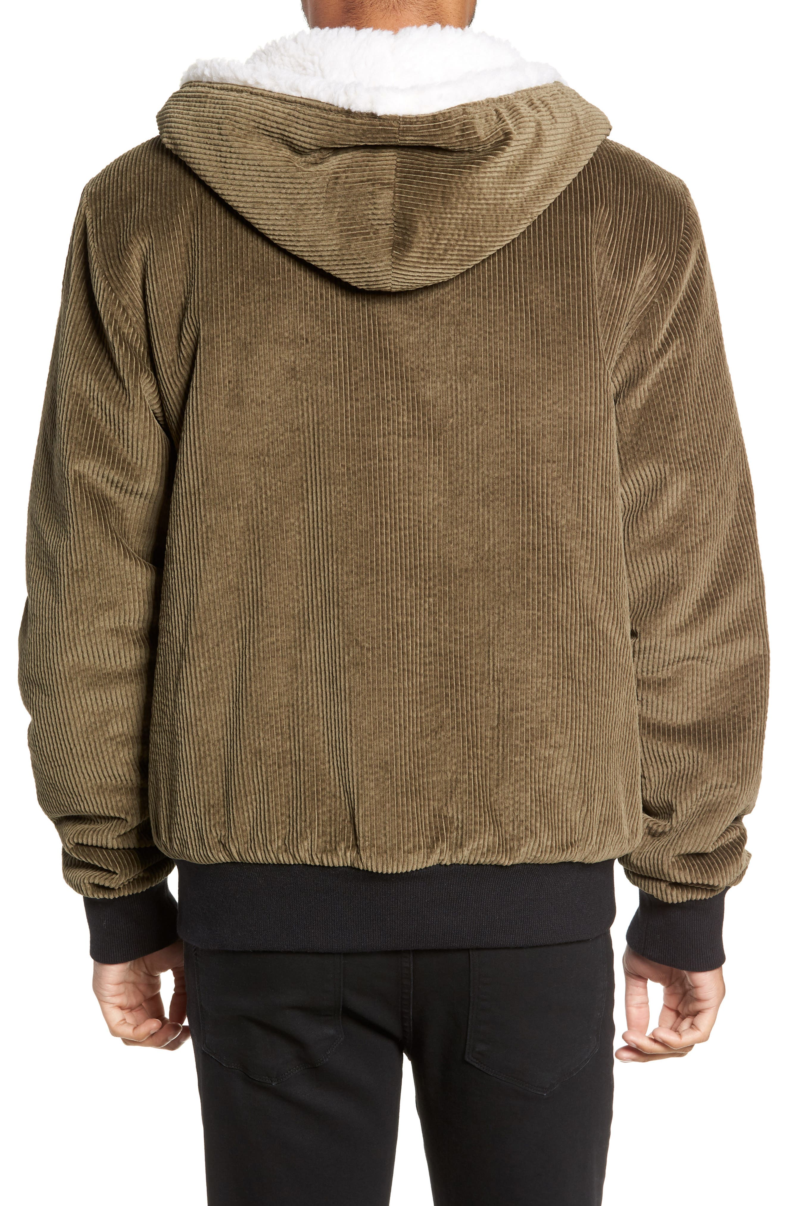 Champlain Cotton Corduroy & Faux Shearling Hooded Bomber Jacket,                             Alternate thumbnail 2, color,                             ARMY