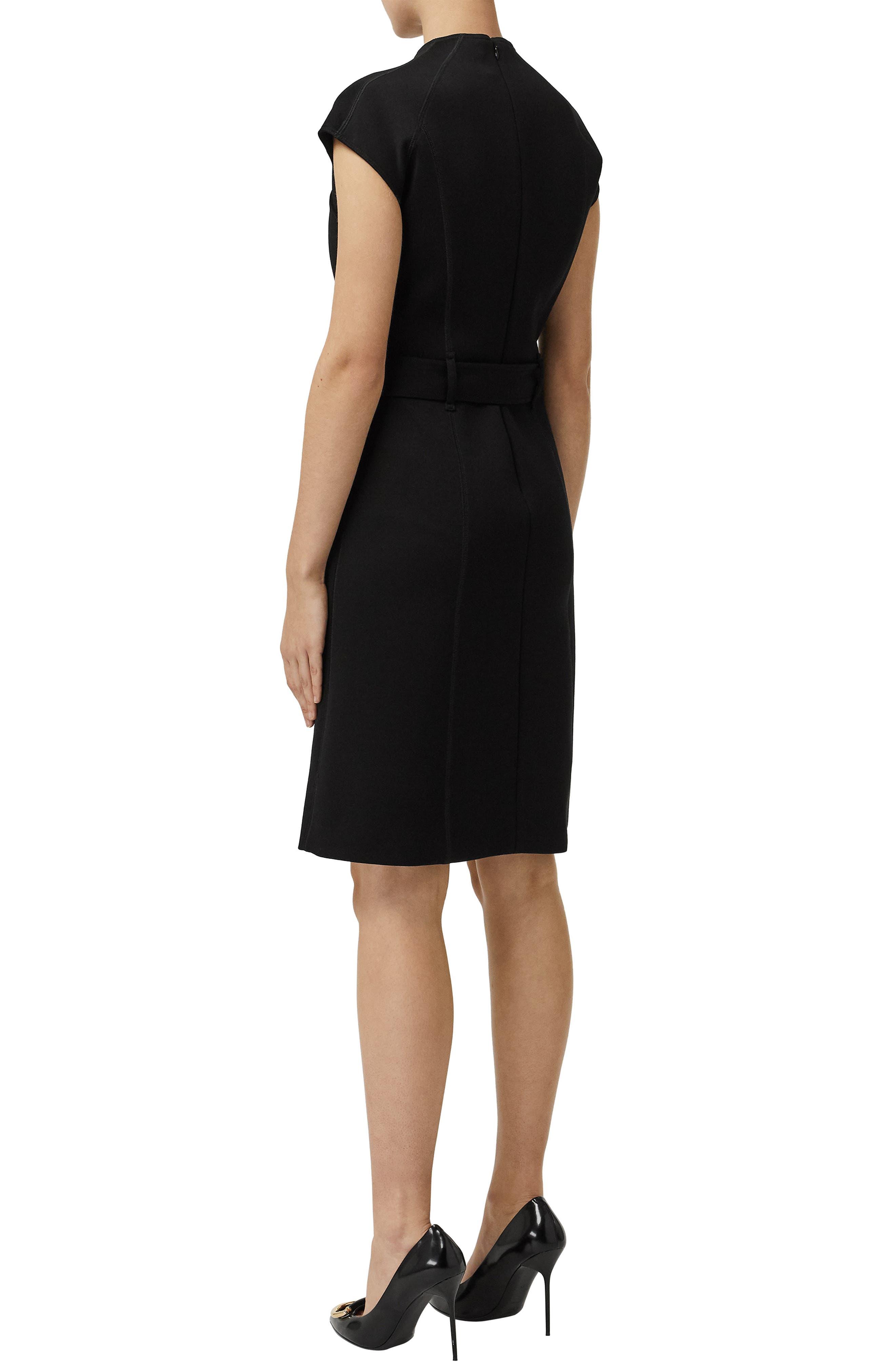 Dulsie D-Ring Detail Bonded Jersey Dress,                             Alternate thumbnail 2, color,                             BLACK