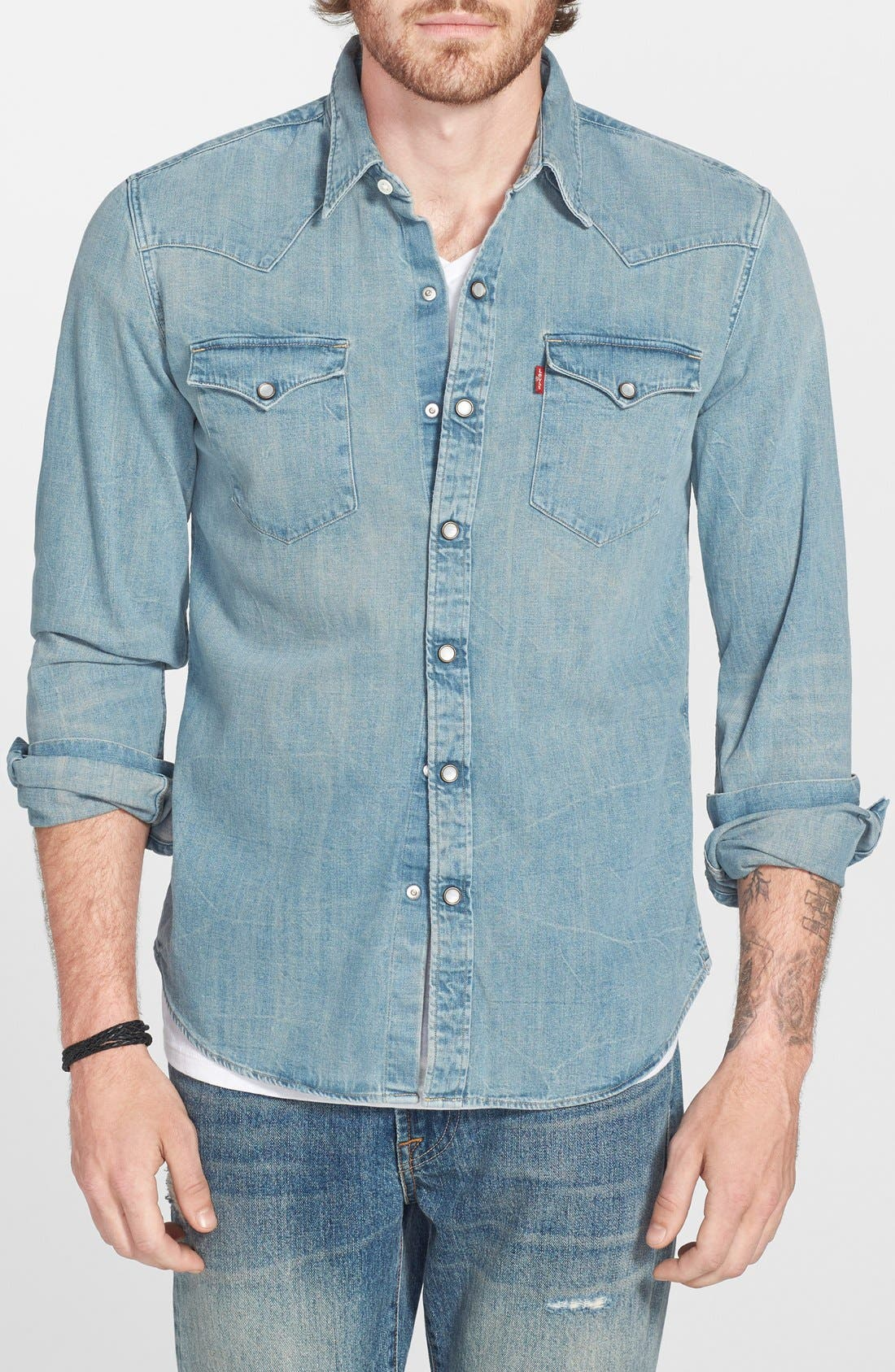 'Barstow' Denim Western Shirt,                             Main thumbnail 6, color,