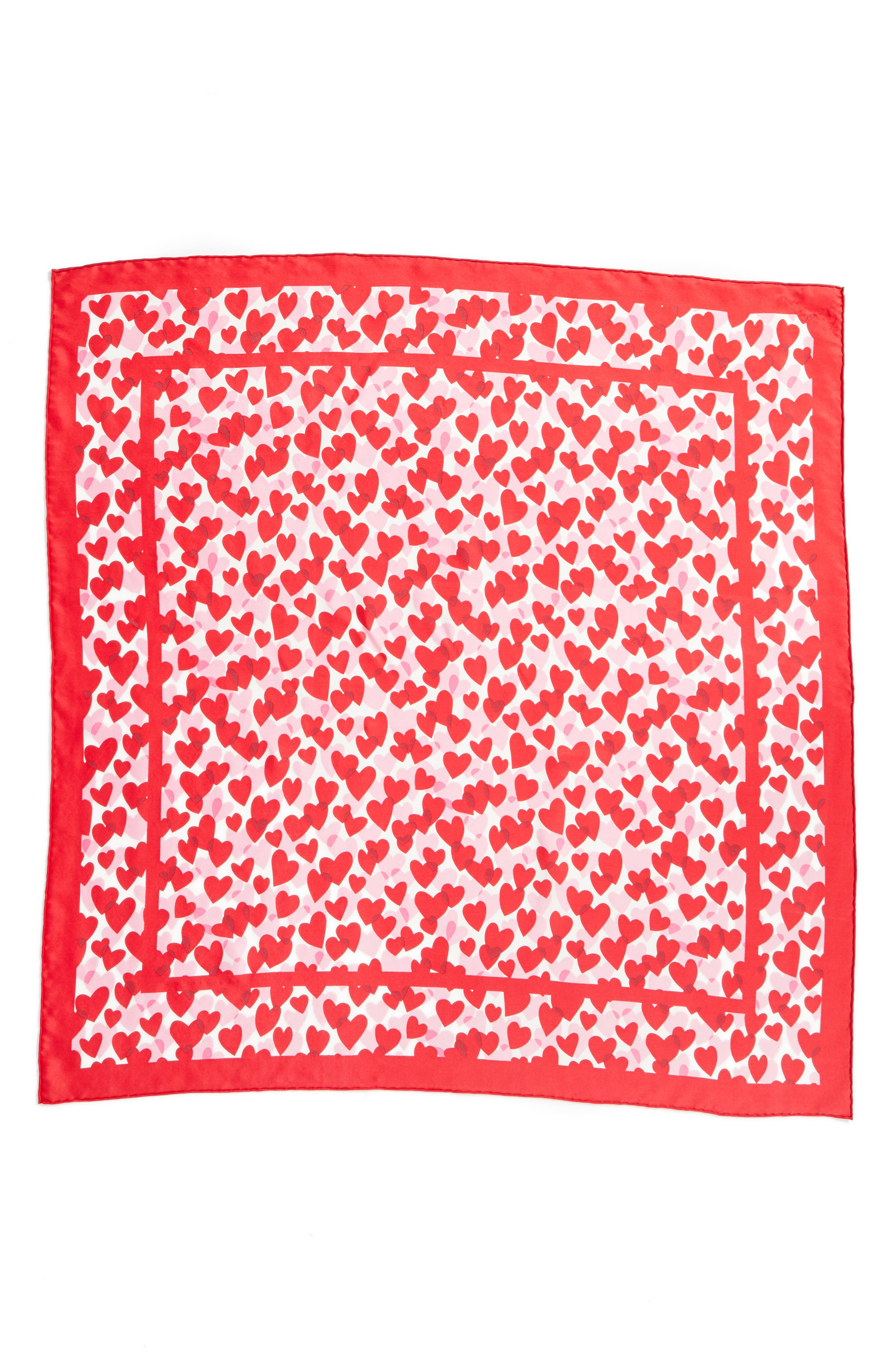 heart party silk square scarf,                             Alternate thumbnail 3, color,                             CHARM RED
