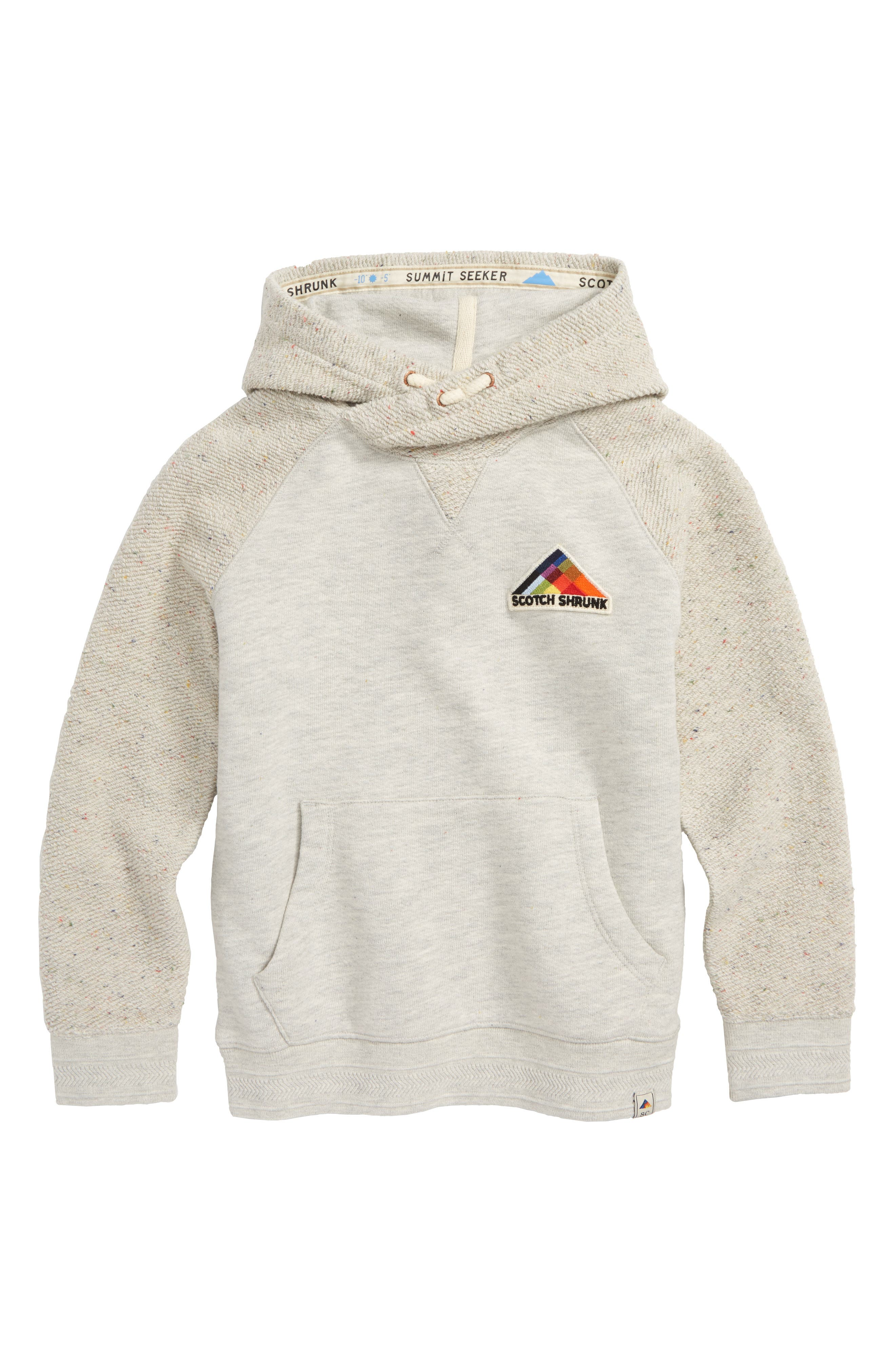 Twisted French Terry Pullover Hoodie,                             Main thumbnail 1, color,                             GREY MELANGE