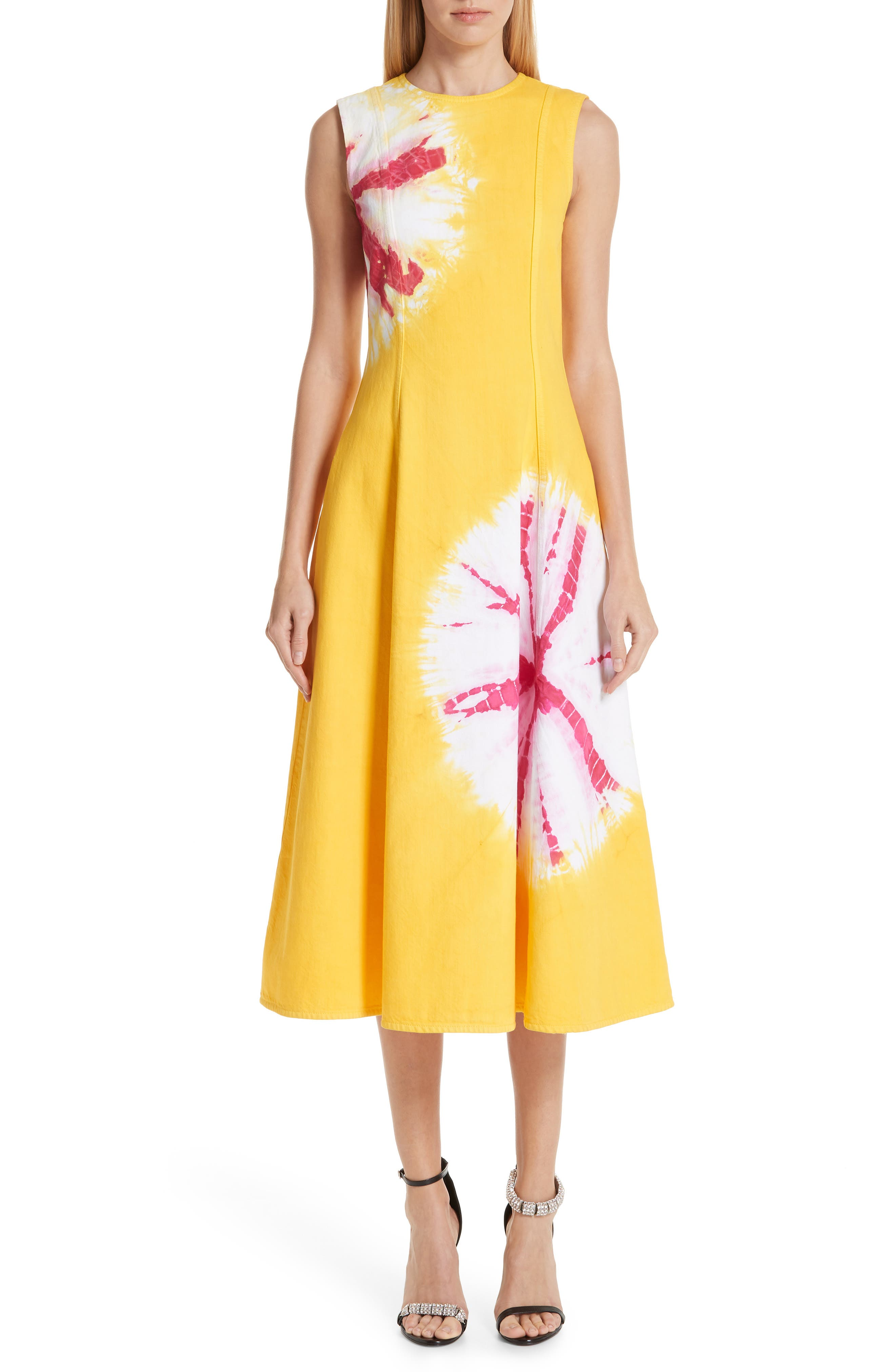 Calvin Klein 205W39Nyc Tie Dye Fit & Flare Midi Dress, 6 IT - Yellow