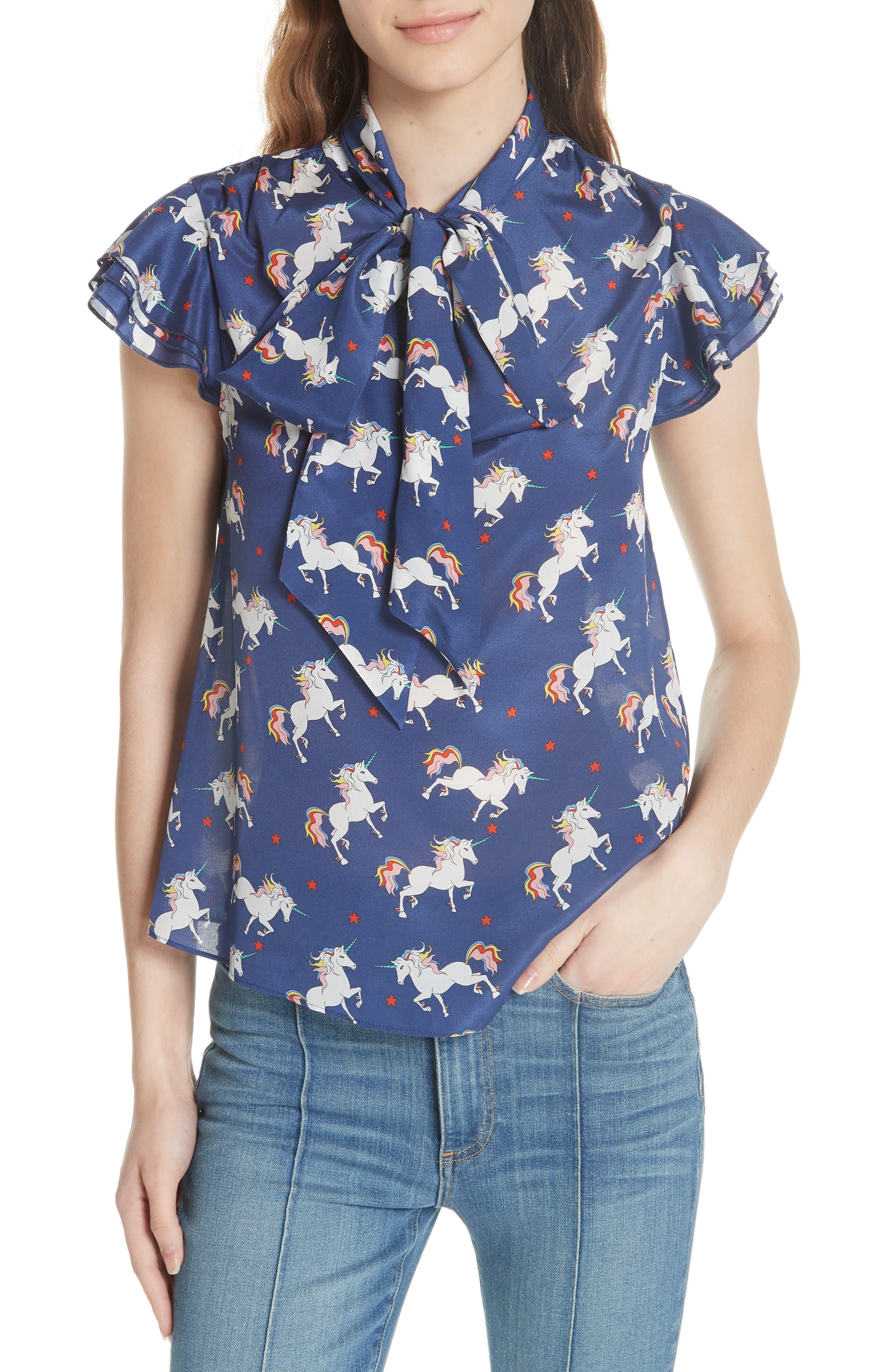 Laney Unicorn Flutter Sleeve Silk Blouse,                         Main,                         color, 416
