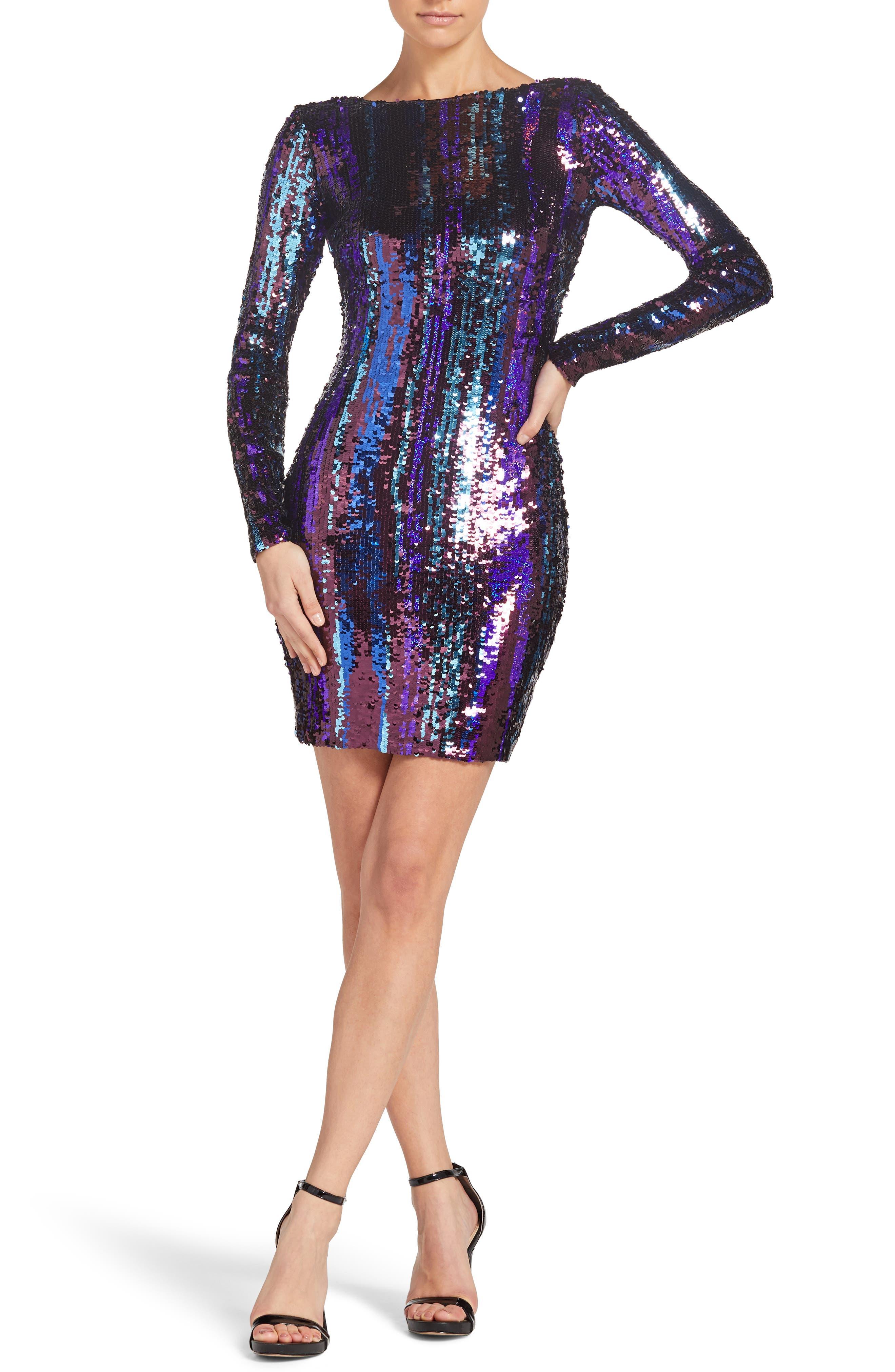 DRESS THE POPULATION Lola Sequin Body-Con Dress in Merlot Multi