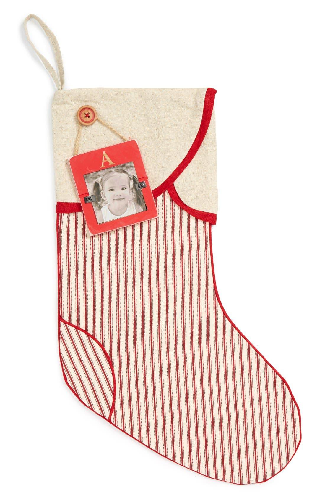 Linen Christmas Stocking & Initial Frame Ornament, Main, color, 600