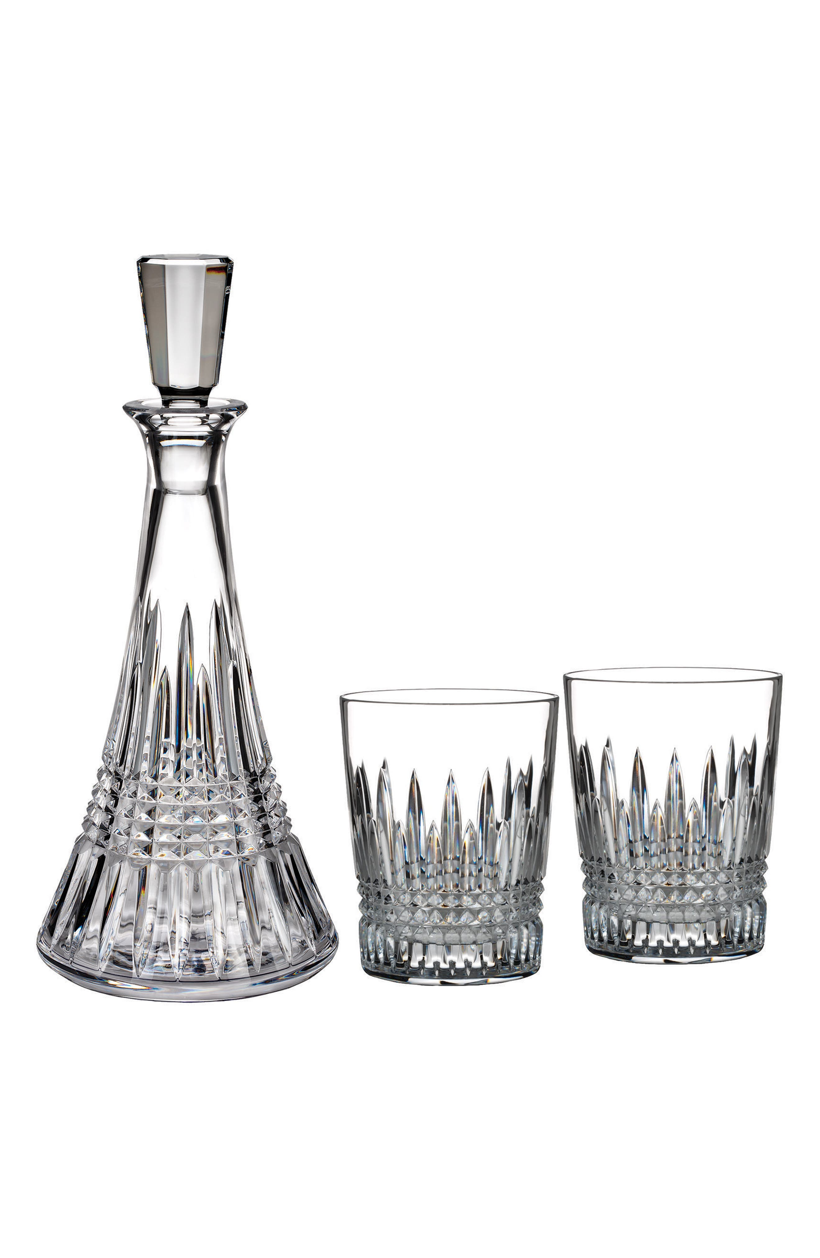 'Lismore Diamond' Lead Crystal Decanter & Double Old-Fashioned Glasses,                             Alternate thumbnail 2, color,