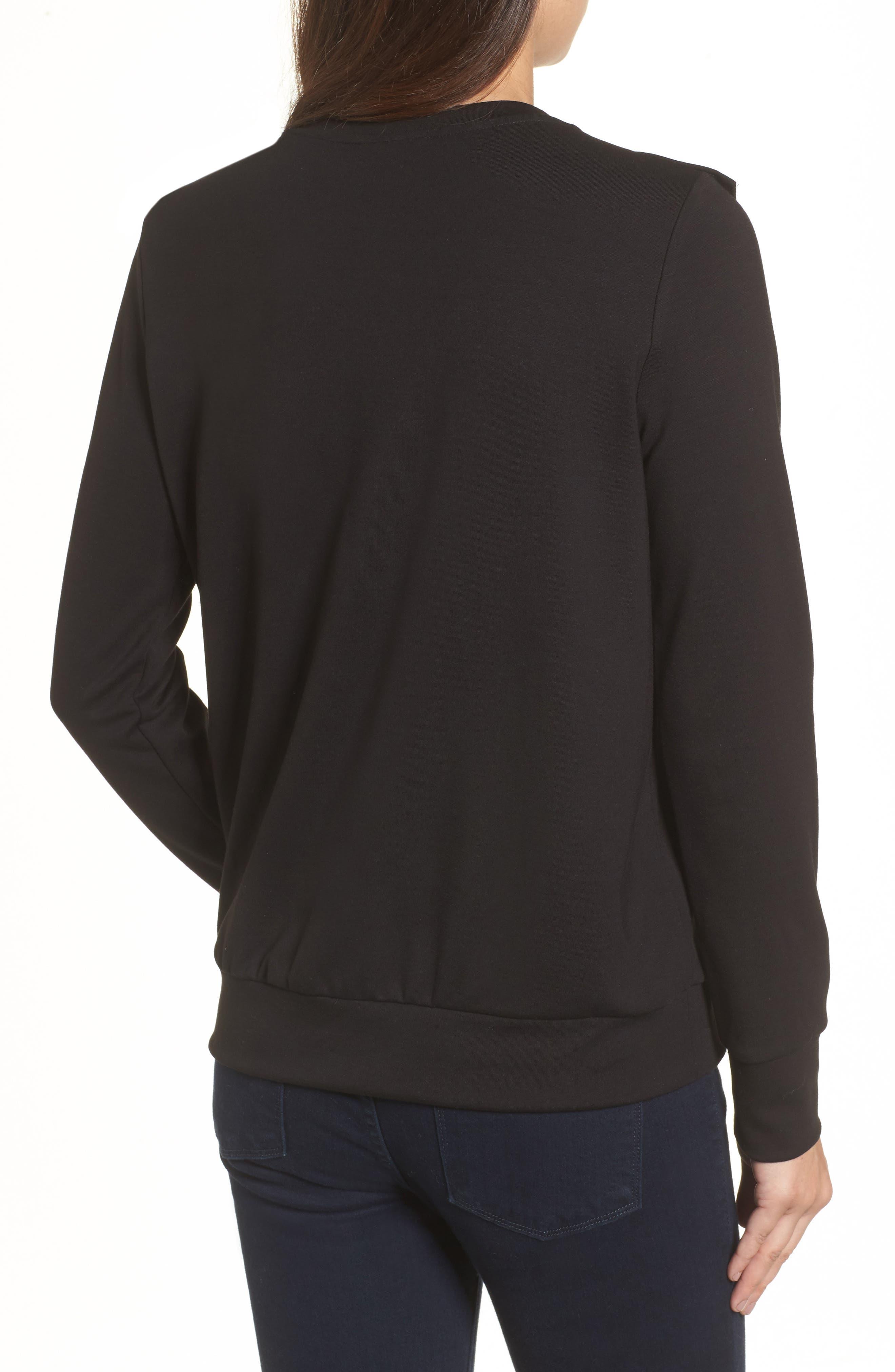 Ruffle Ponte Sweater,                             Alternate thumbnail 2, color,                             001