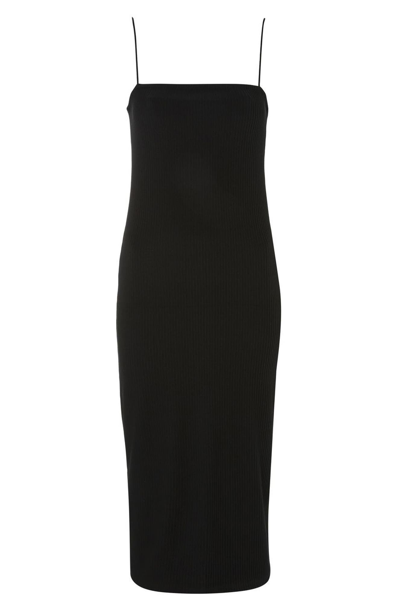 Square Neck Body-Con Midi Dress,                             Alternate thumbnail 3, color,                             001