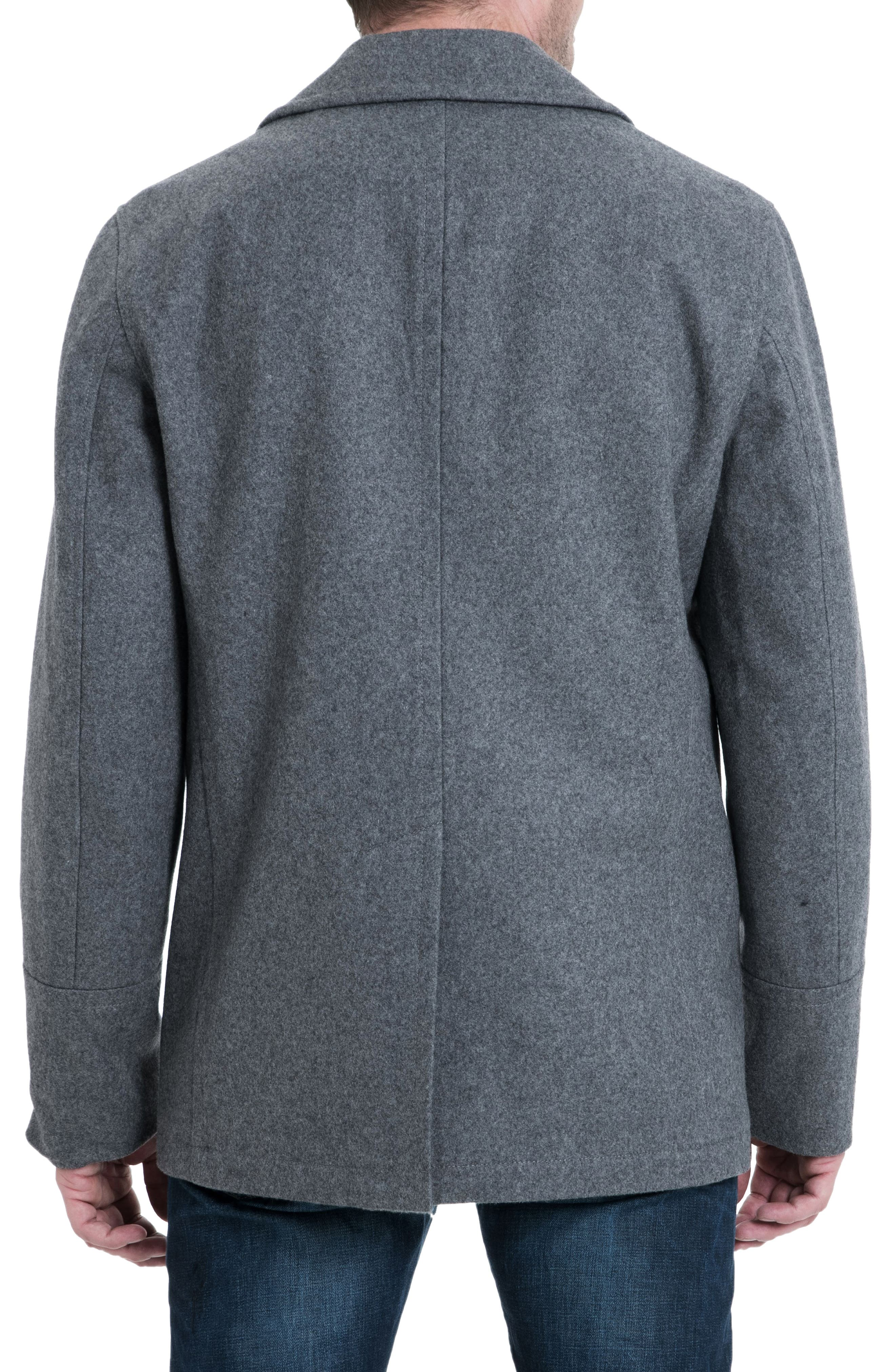Wool Blend Double Breasted Peacoat,                             Alternate thumbnail 2, color,                             MEDIUM GREY HEATHER