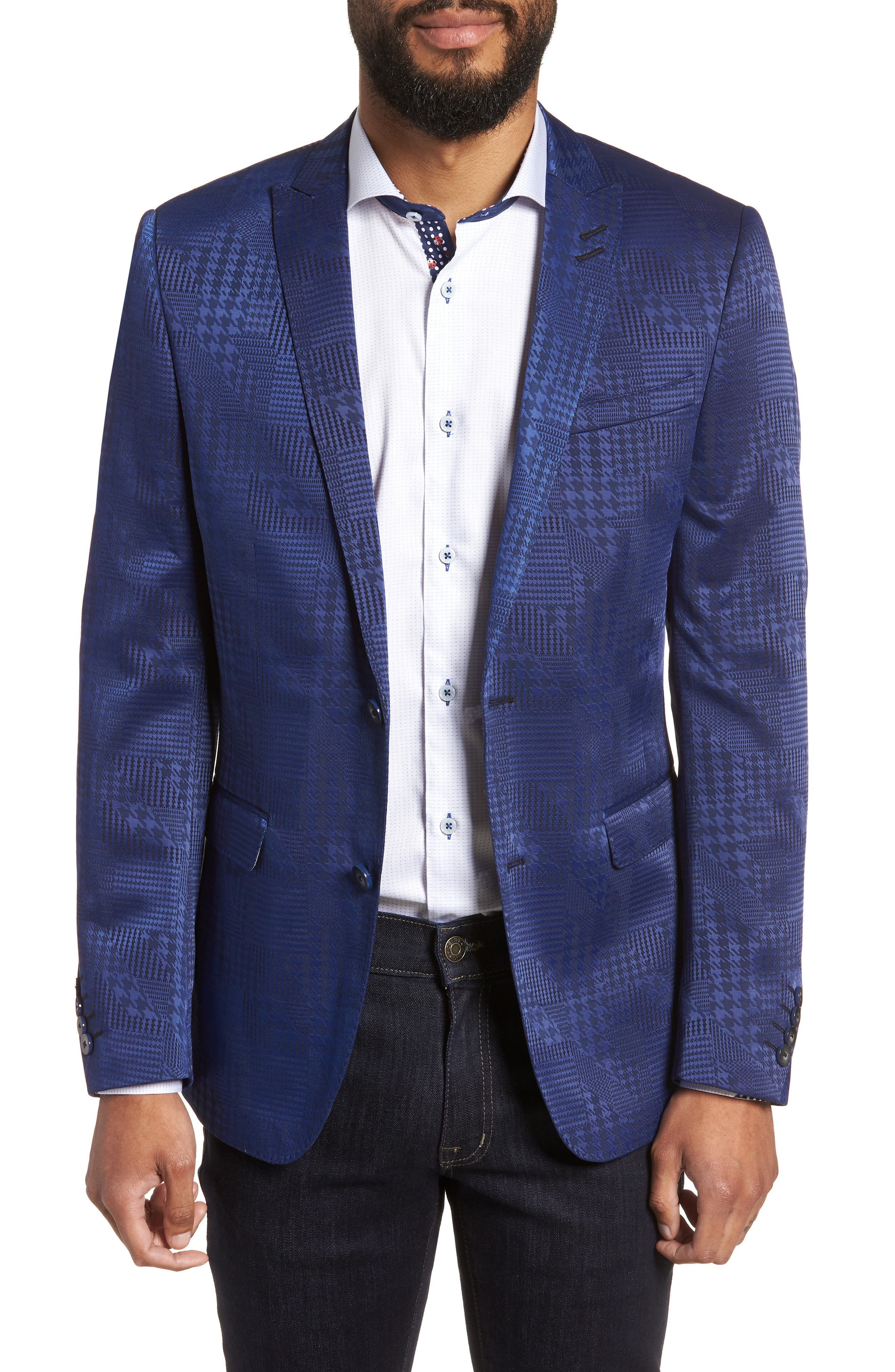 Descartes Patch Houndstooth Sport Coat,                             Main thumbnail 1, color,                             420