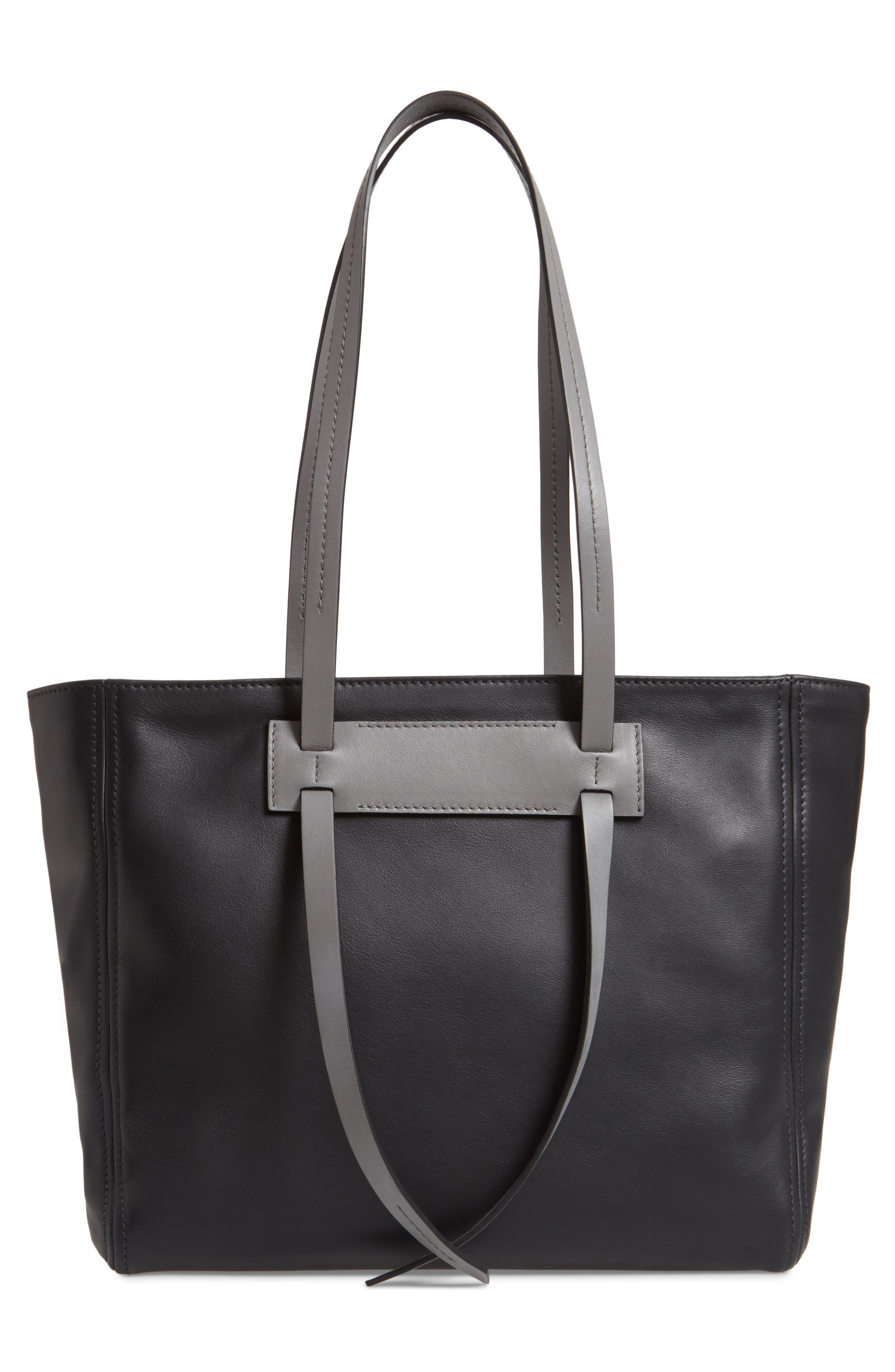 Grace Lux Calfskin Leather Tote,                             Alternate thumbnail 3, color,                             NERO/ MARMO