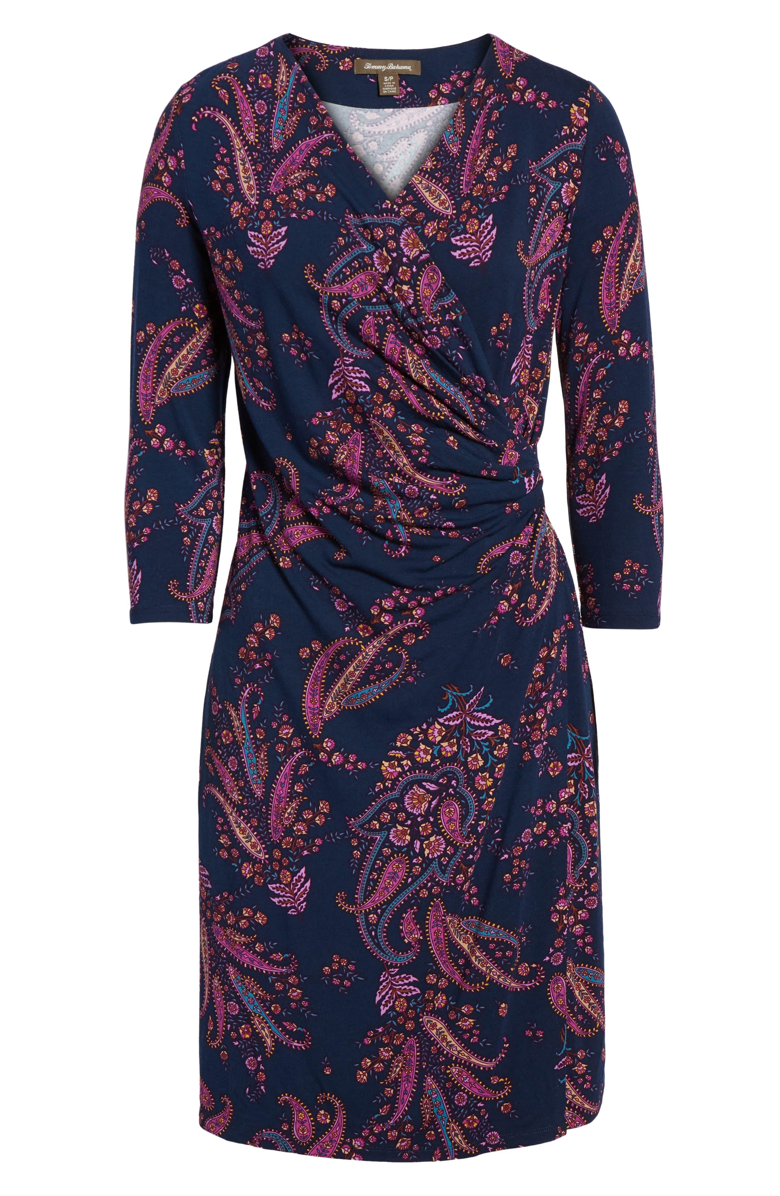 Paisley Daze Faux Wrap Dress,                             Alternate thumbnail 6, color,                             400