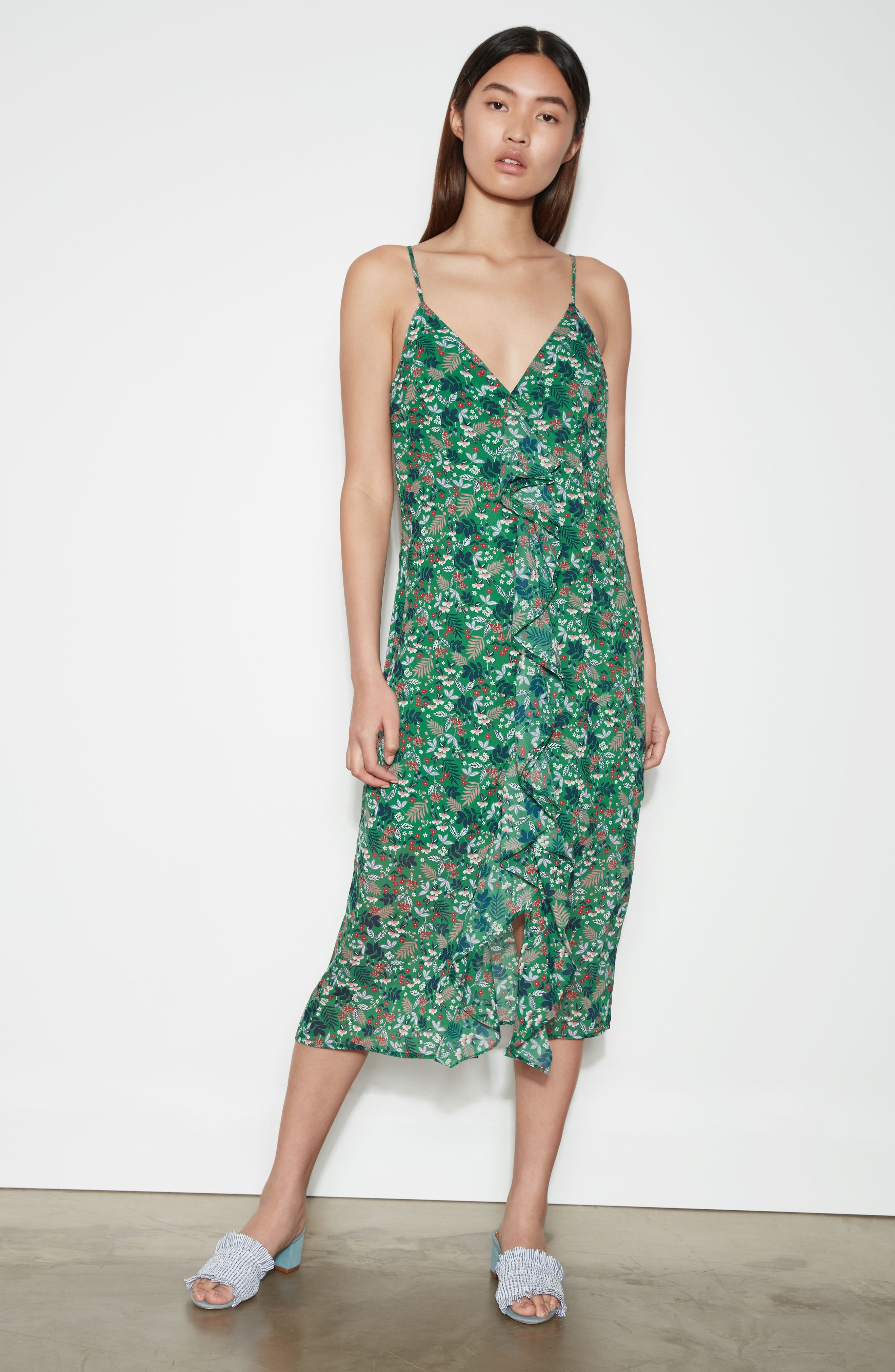 Viridian Ruffle Floral Print Dress,                             Alternate thumbnail 8, color,                             305