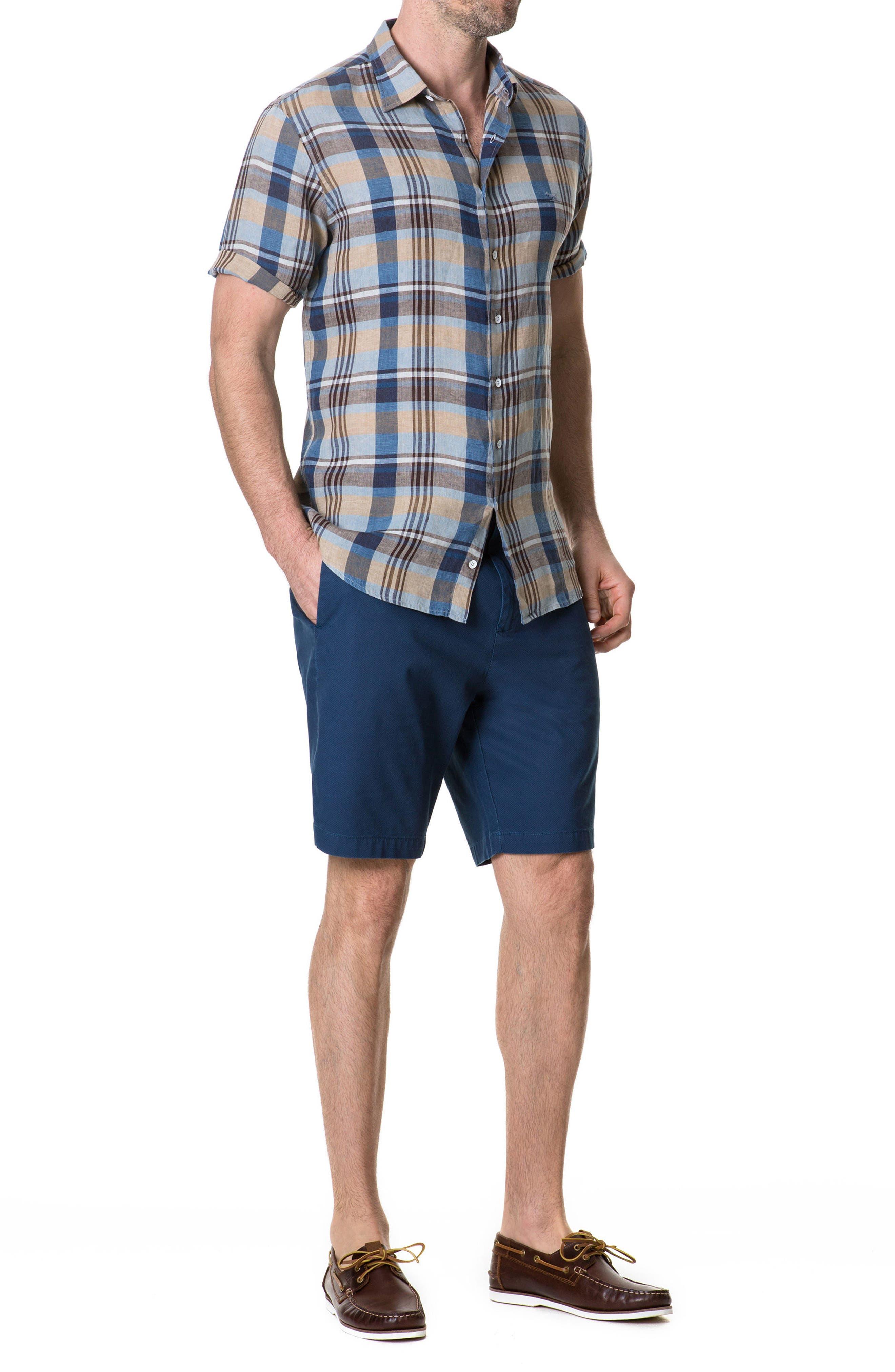 Pavillion Plaid Linen Sport Shirt,                             Alternate thumbnail 6, color,                             231