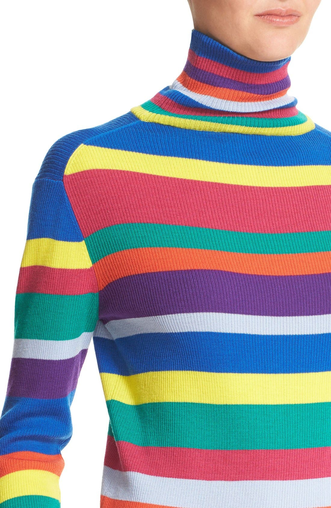 Stripe Merino Wool Turtleneck,                             Alternate thumbnail 2, color,                             960