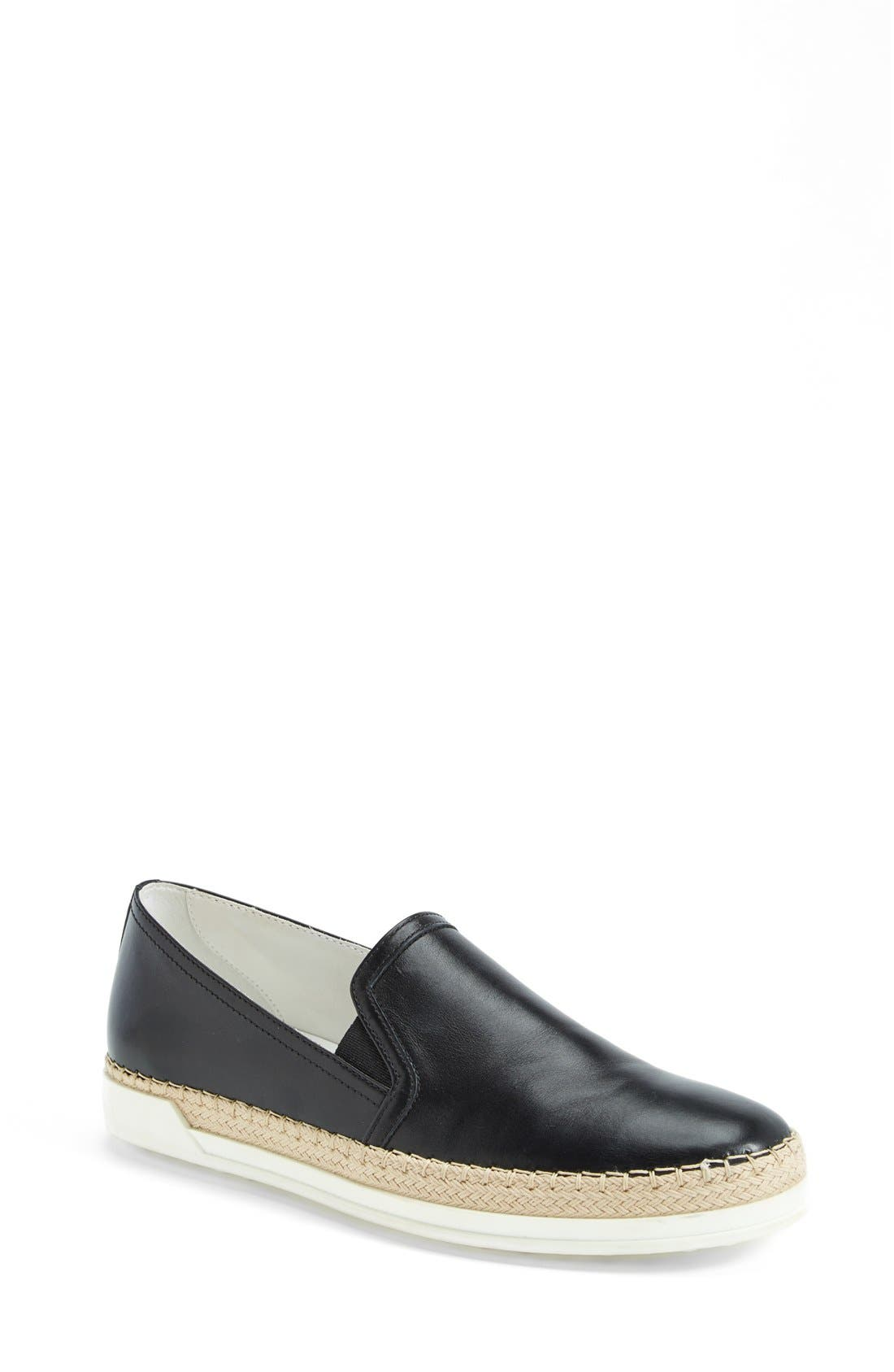 TOD'S Slip-On Leather Sneaker, Main, color, 001
