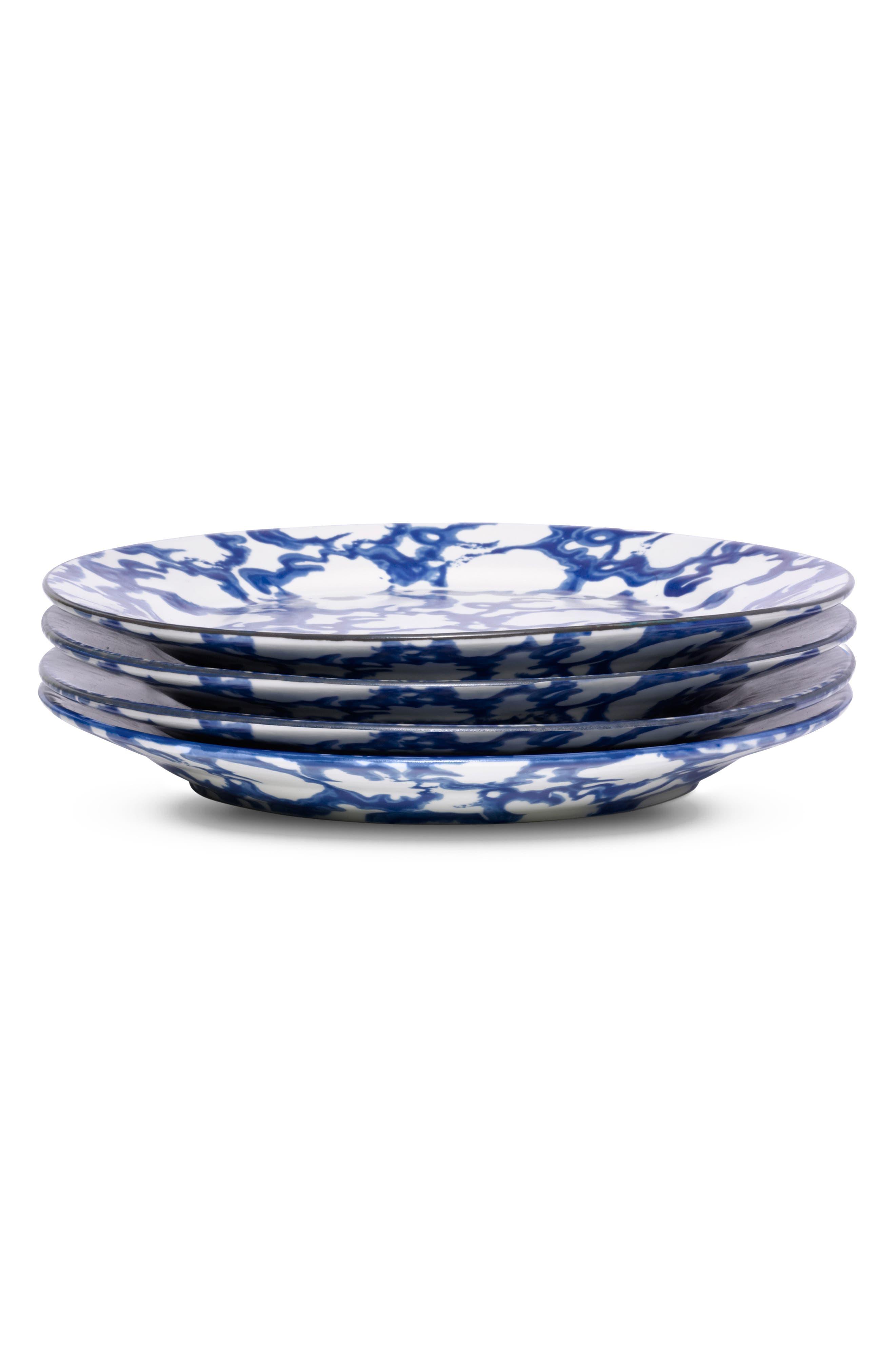 Set of 4 Spongeware Salad Plates,                             Alternate thumbnail 2, color,                             SMOKE RING