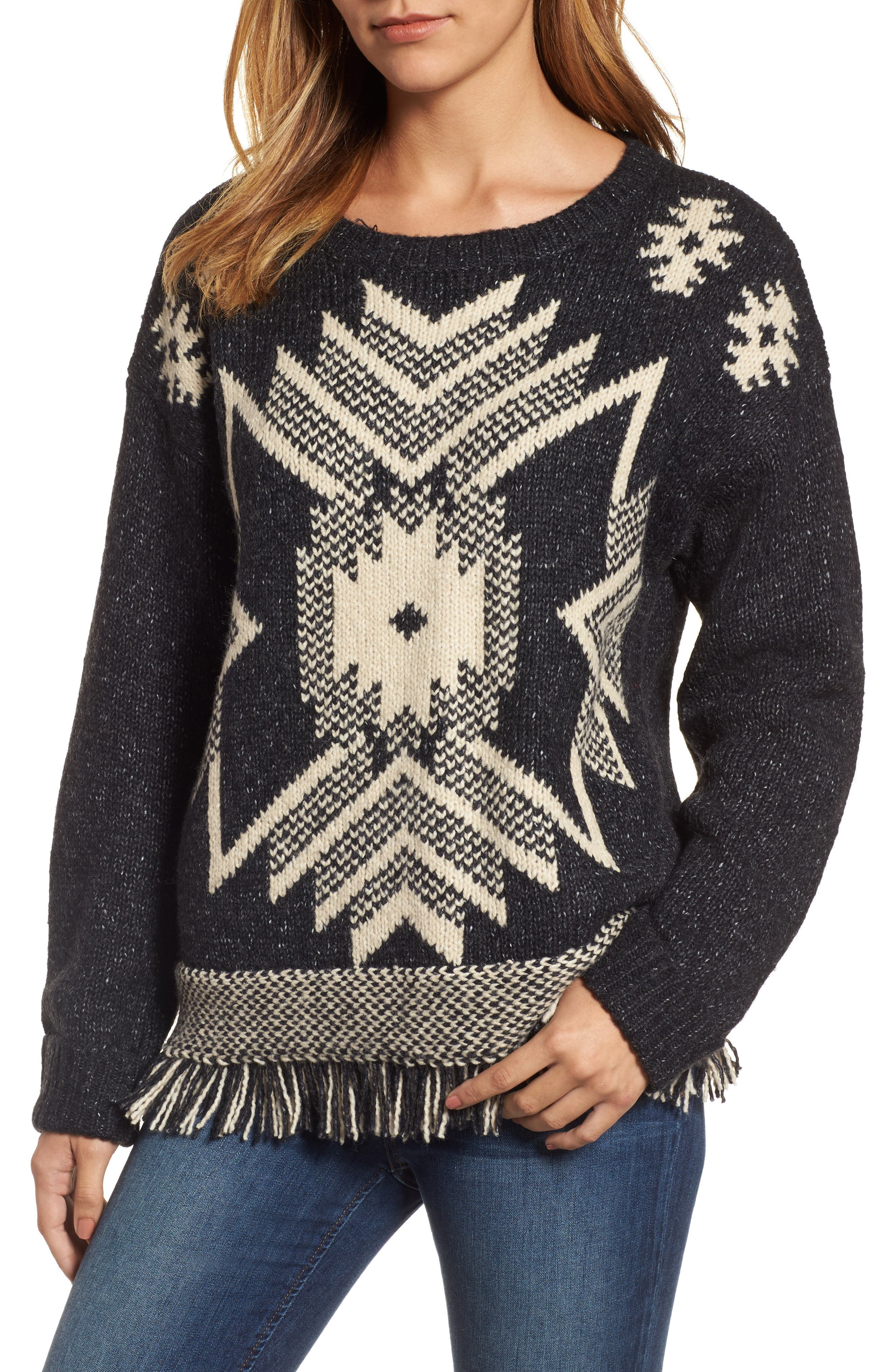 Fringe Sweater,                         Main,                         color, 001