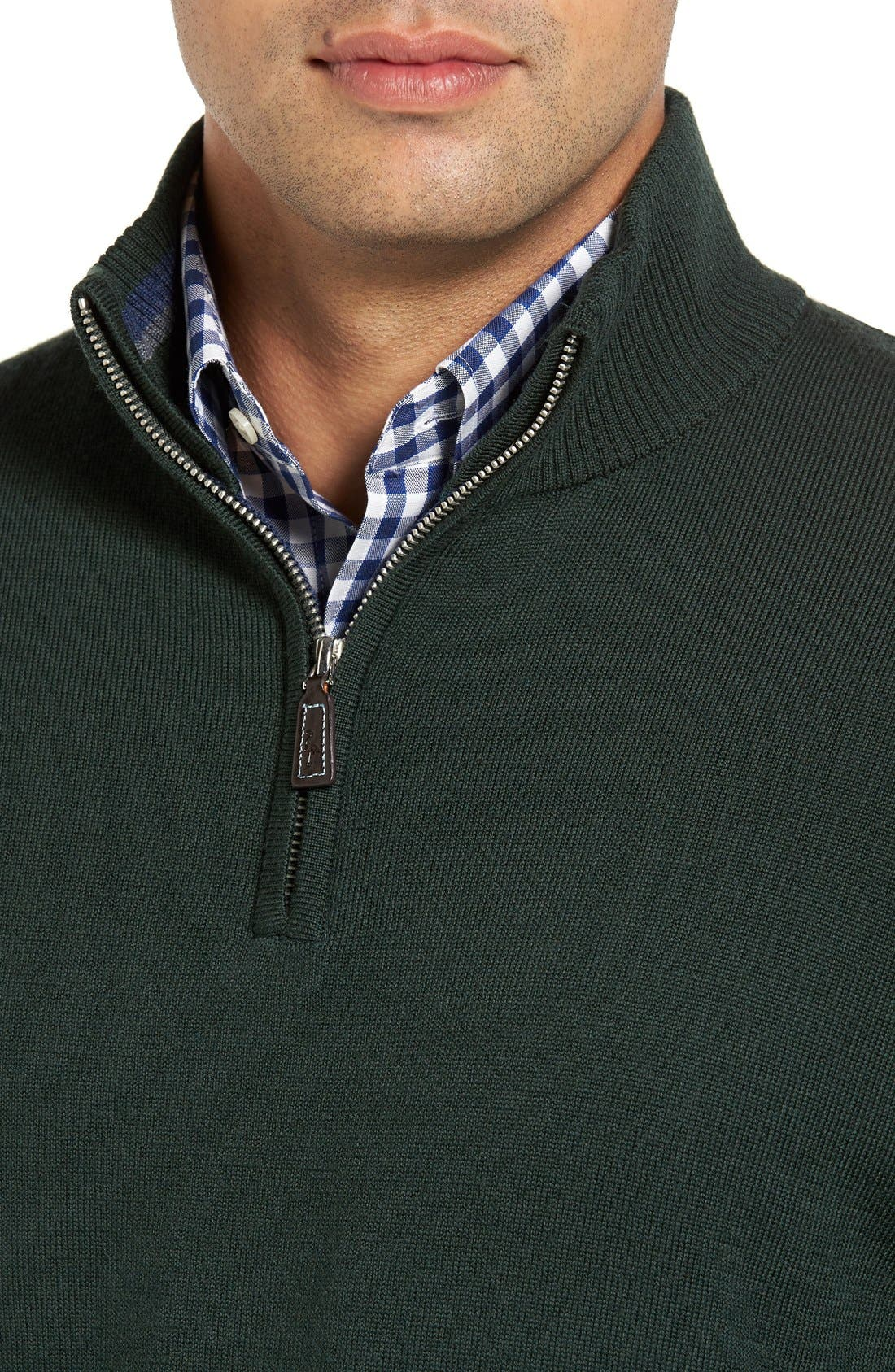 S.Cascade Quarter Zip Wool Sweater,                             Alternate thumbnail 4, color,                             310