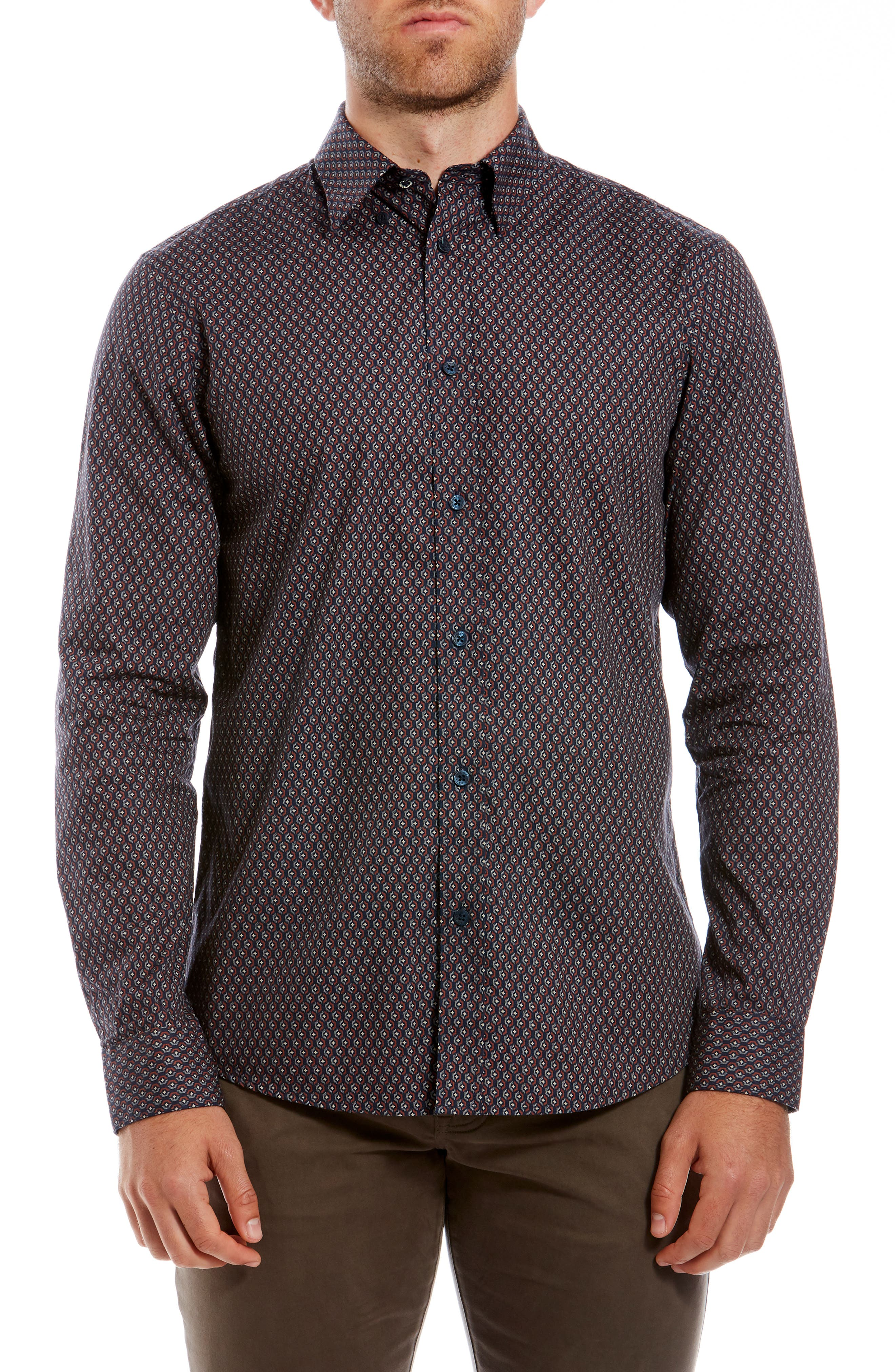 Retro Trim Fit Geo Print Sport Shirt,                         Main,                         color, 411