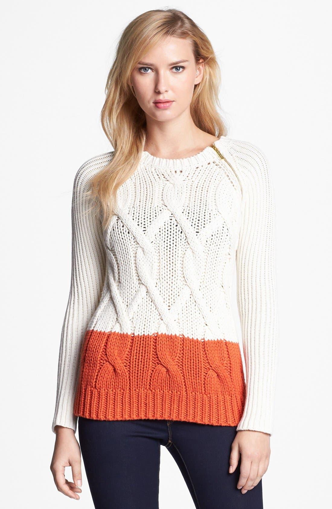 Zip Shoulder Colorblock Cable Sweater,                             Main thumbnail 1, color,                             103