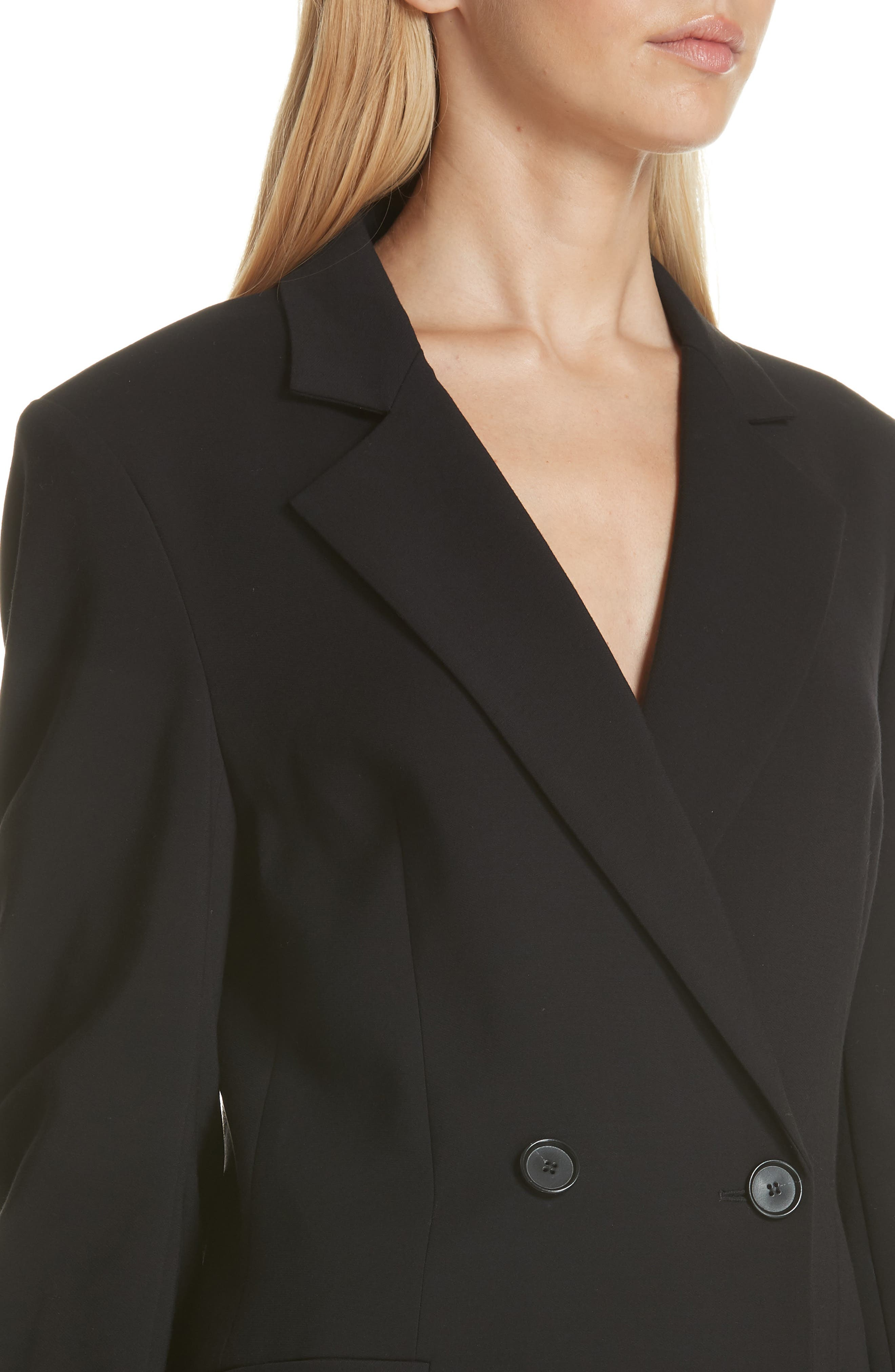 Ruched Sleeve Blazer,                             Alternate thumbnail 4, color,                             001