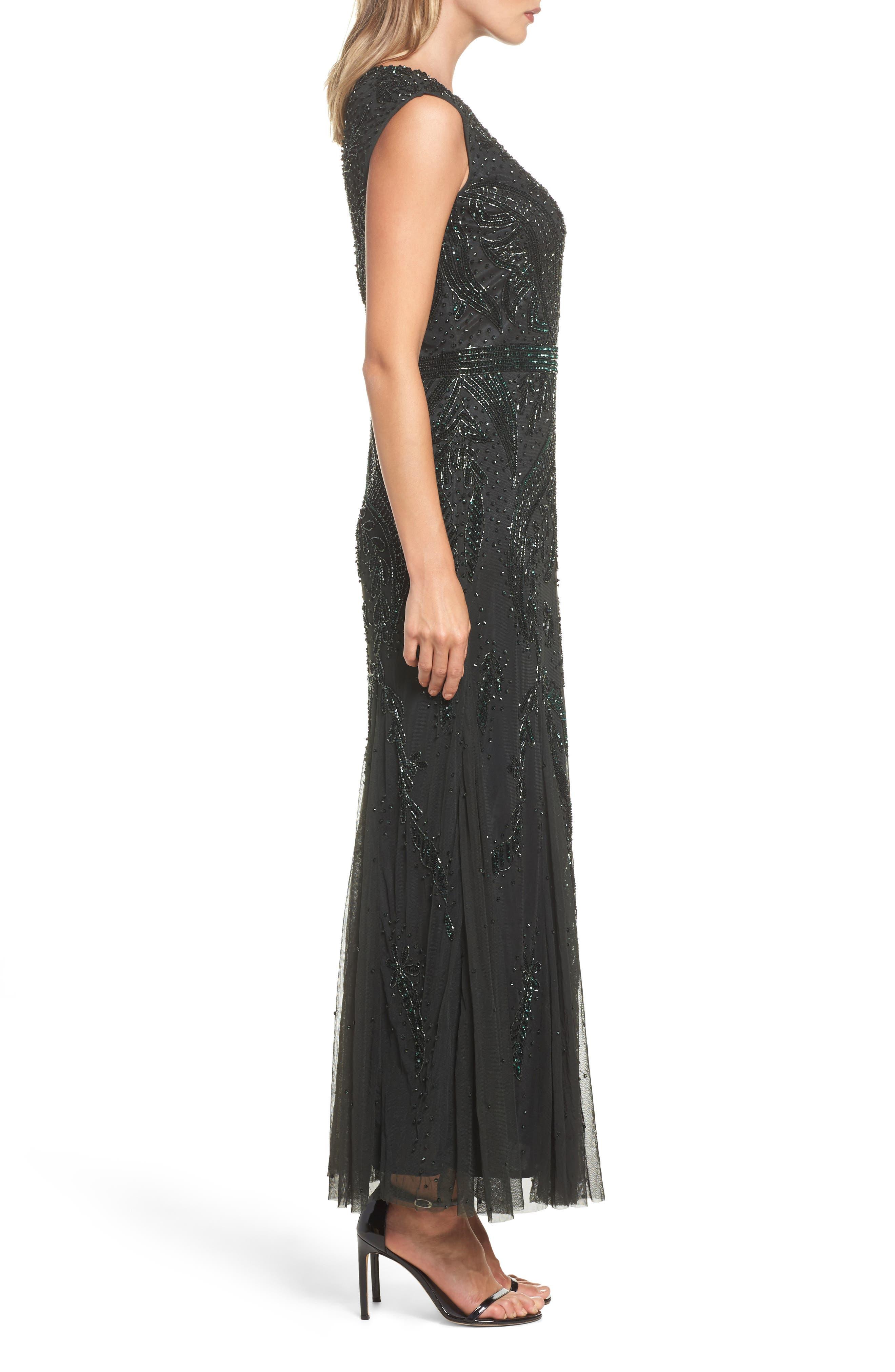Embellished Mesh Godet Gown,                             Alternate thumbnail 3, color,                             301
