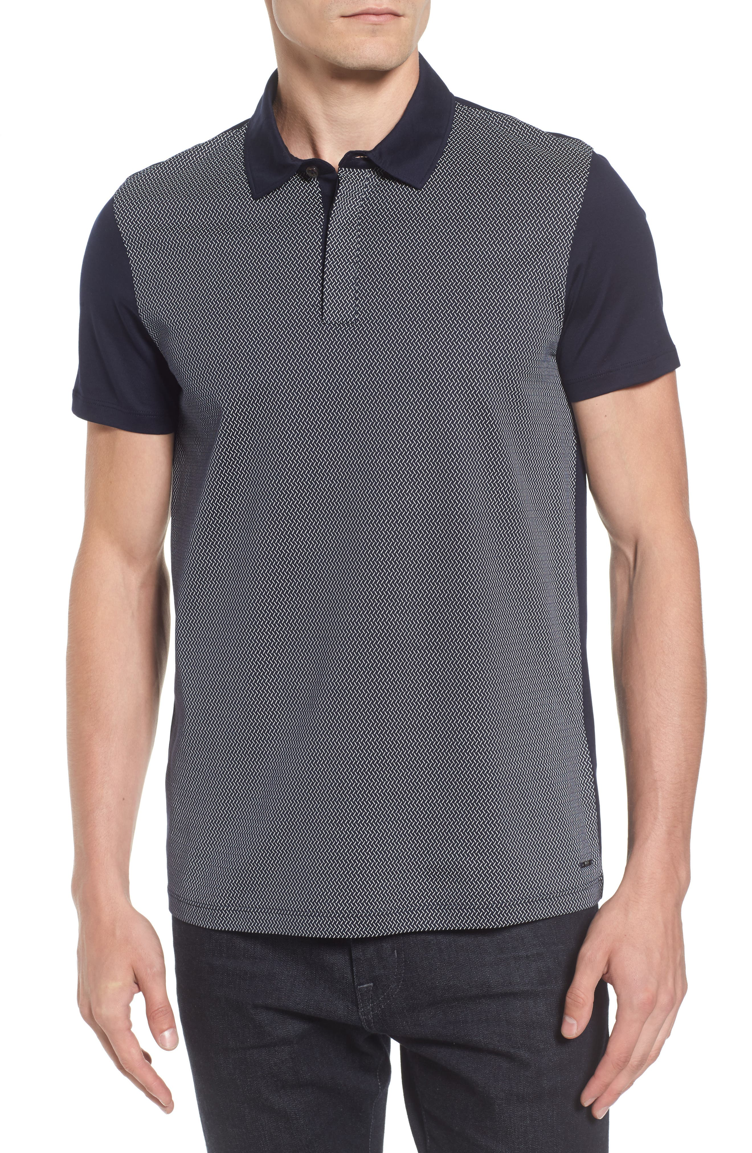 Slim Fit Micro Pattern Polo,                         Main,                         color, 410