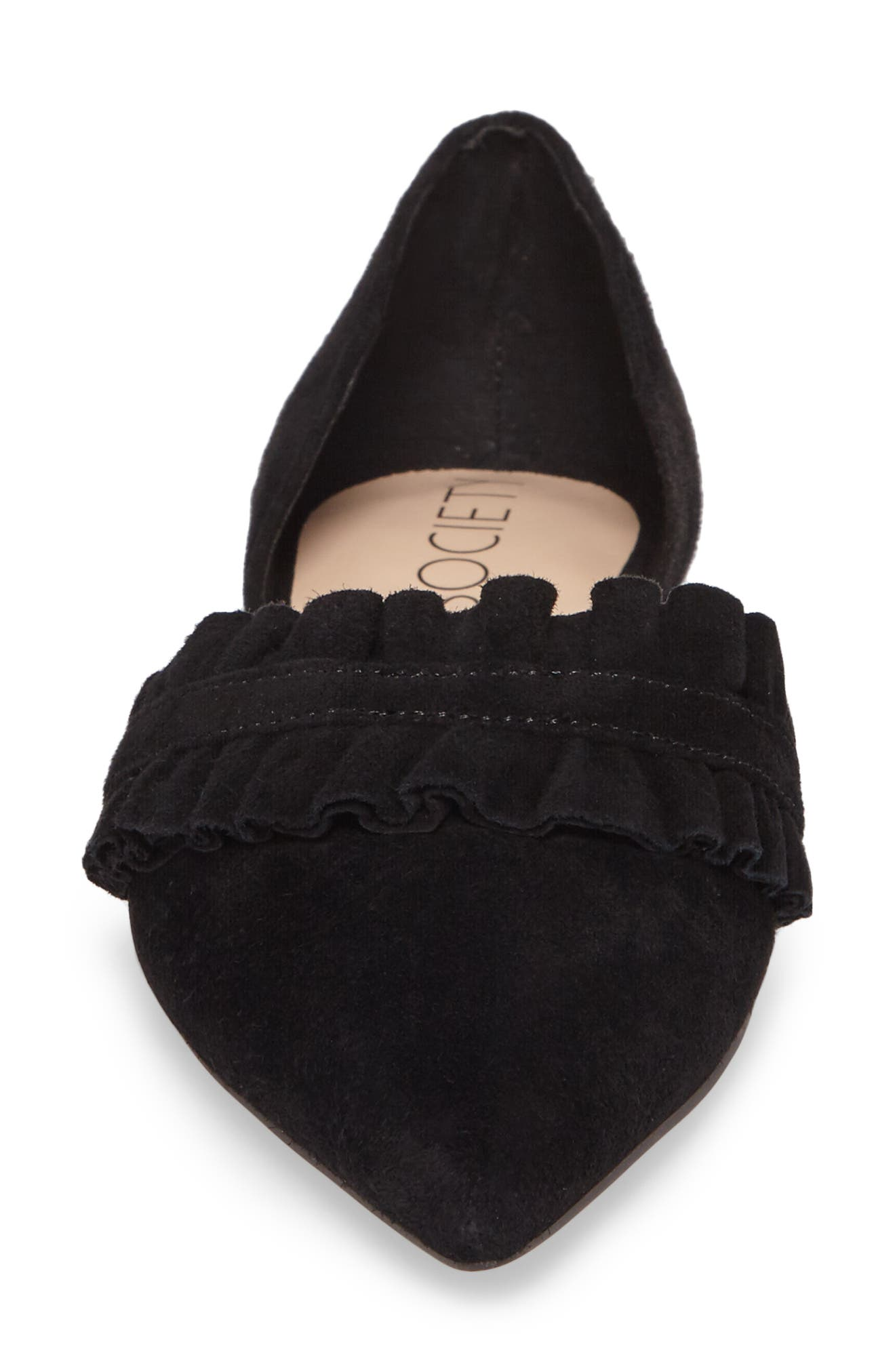 Rosalind Ruffle d'Orsay Flat,                             Alternate thumbnail 4, color,                             BLACK