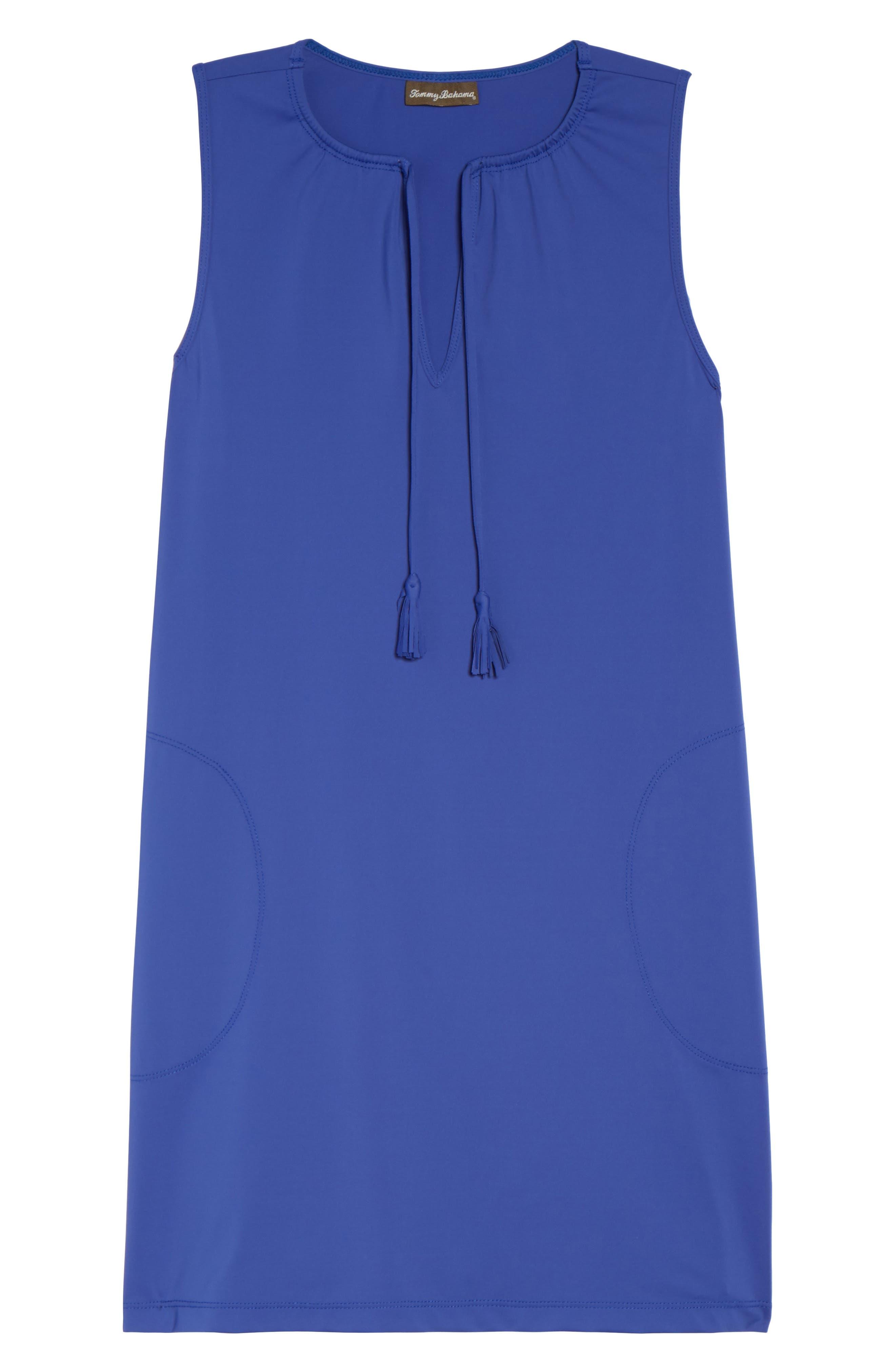 'Pearl' Split Neck Cover-Up Dress,                             Alternate thumbnail 6, color,                             400