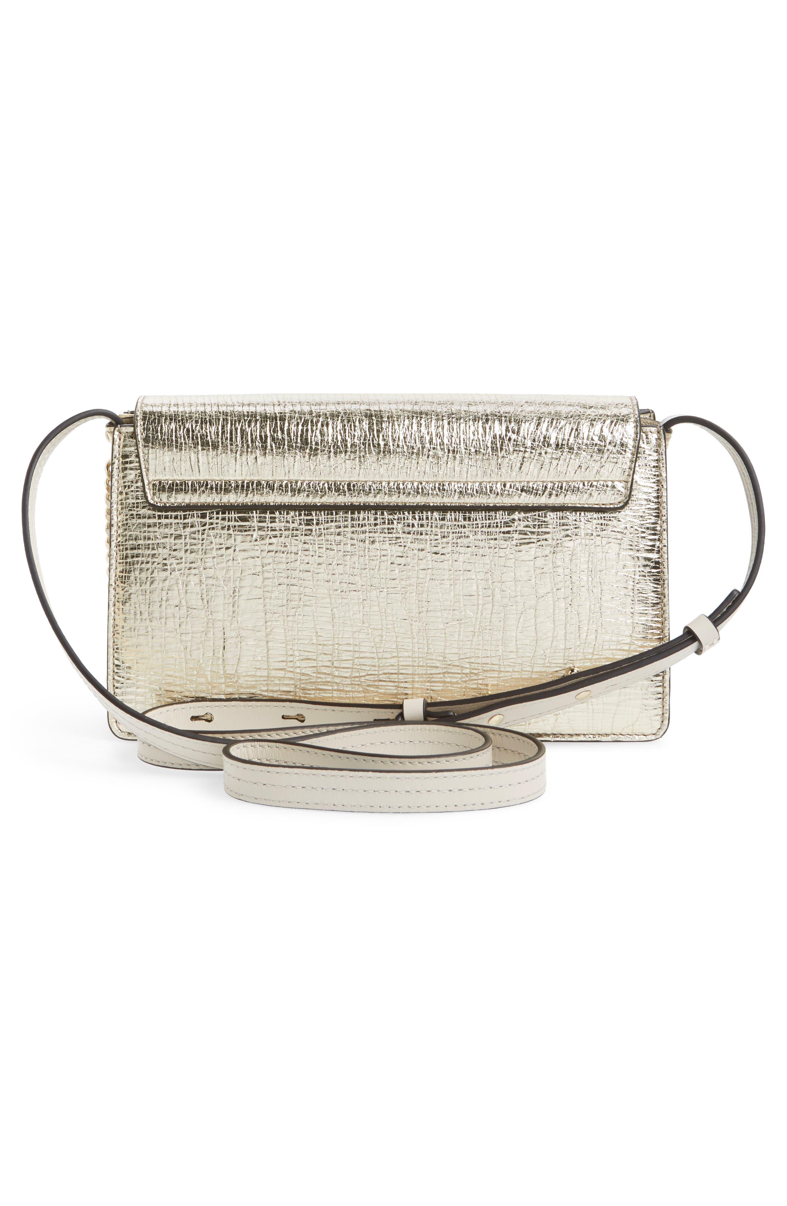 Small Faye Metallic Leather Shoulder Bag,                             Alternate thumbnail 3, color,                             GOLD