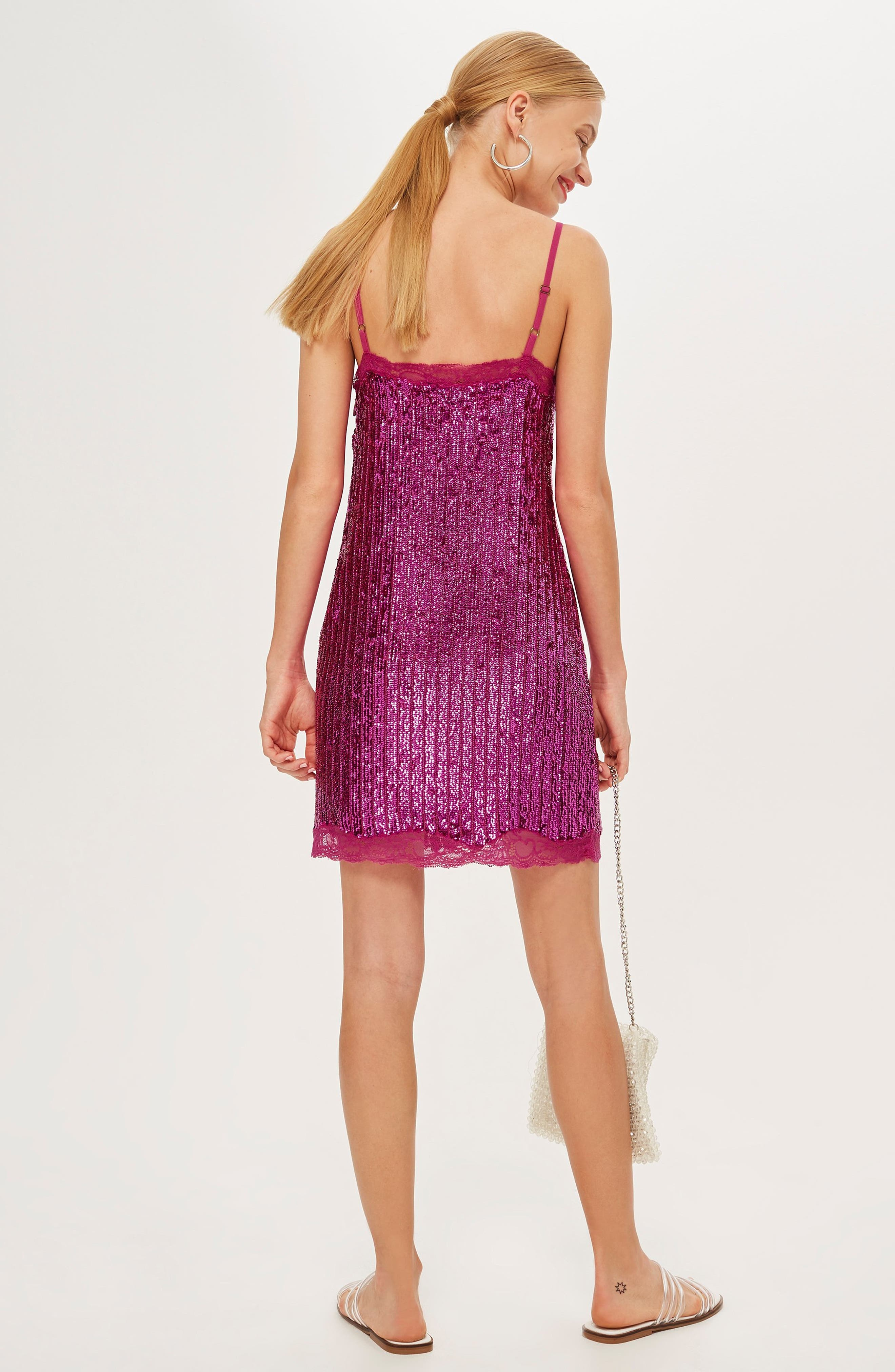Sequin Slipdress,                             Alternate thumbnail 4, color,                             PINK