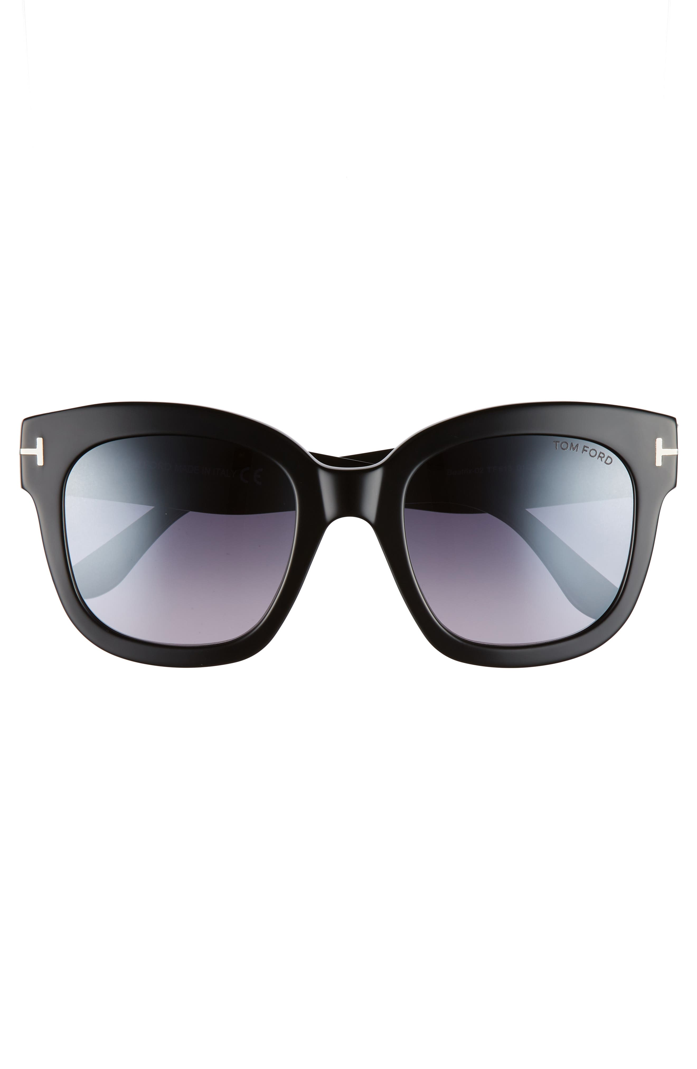 Beatrix 52mm Sunglasses,                             Alternate thumbnail 3, color,                             SHINY BLACK/ SMOKE MIRROR