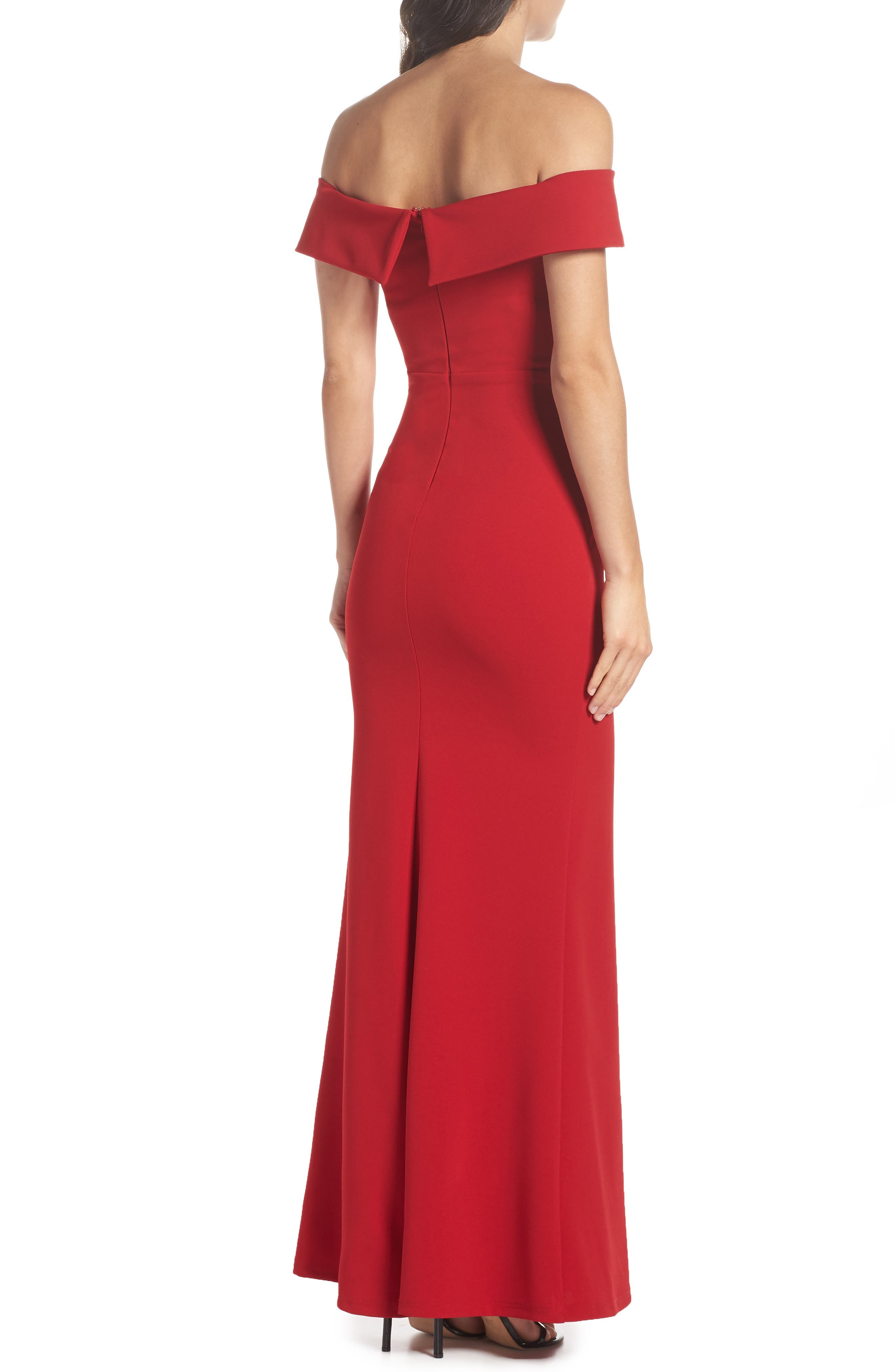 Off the Shoulder Mermaid Gown,                             Alternate thumbnail 2, color,                             RED