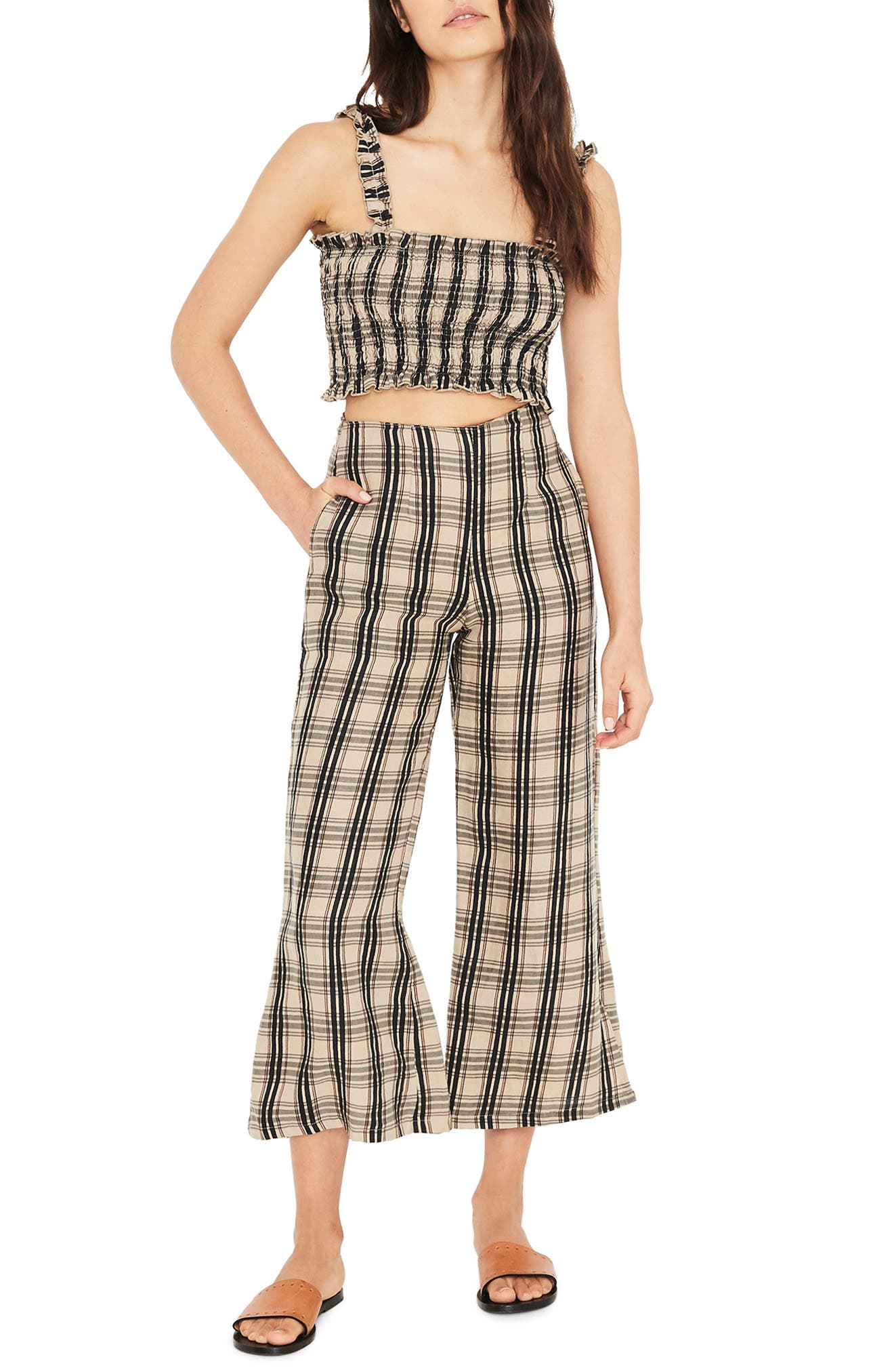 Carmen Plaid Crop Flare Pants,                             Alternate thumbnail 4, color,                             HILLARY PRINT