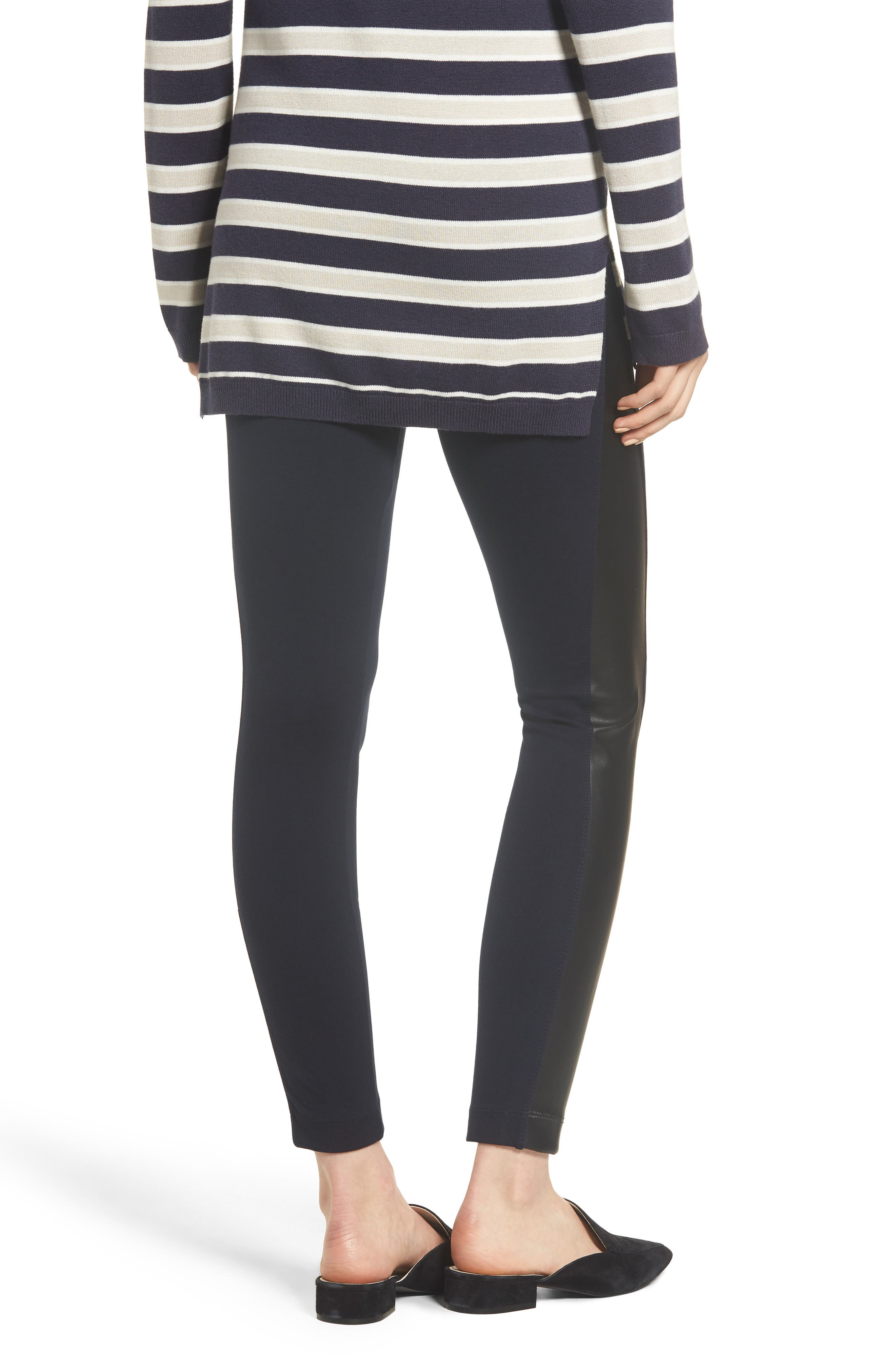 Gemma Faux-Leather Panel Ankle Leggings,                             Alternate thumbnail 2, color,                             MIDNIGHT