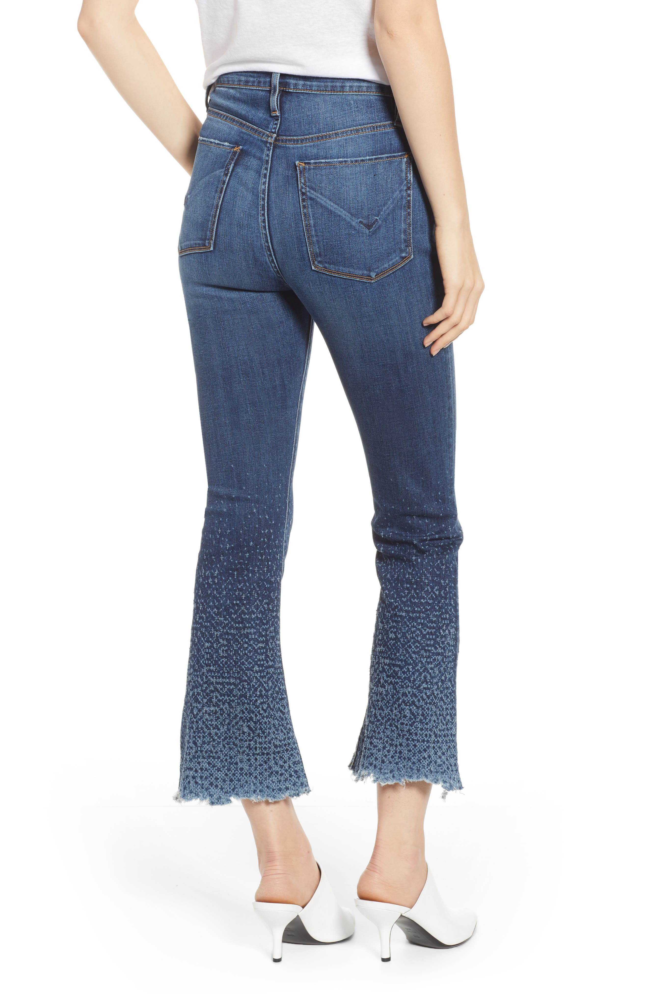 Holly High Waist Crop Flare Jeans,                             Alternate thumbnail 2, color,                             DIST. SUNDOWN DISTRESSED