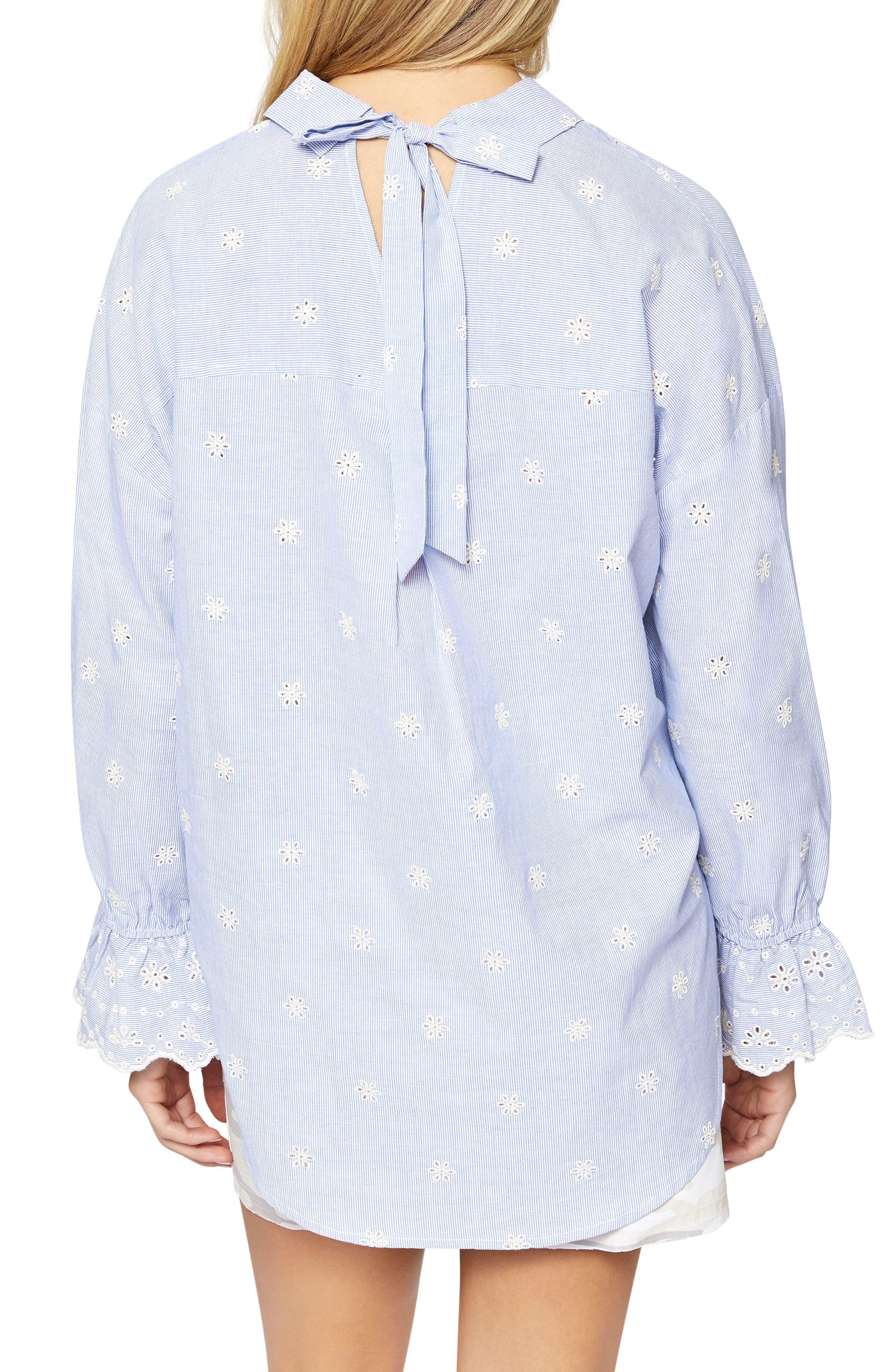 Hazel Boy Eyelet Shirt,                             Alternate thumbnail 2, color,                             BABY TICKING STRIPE