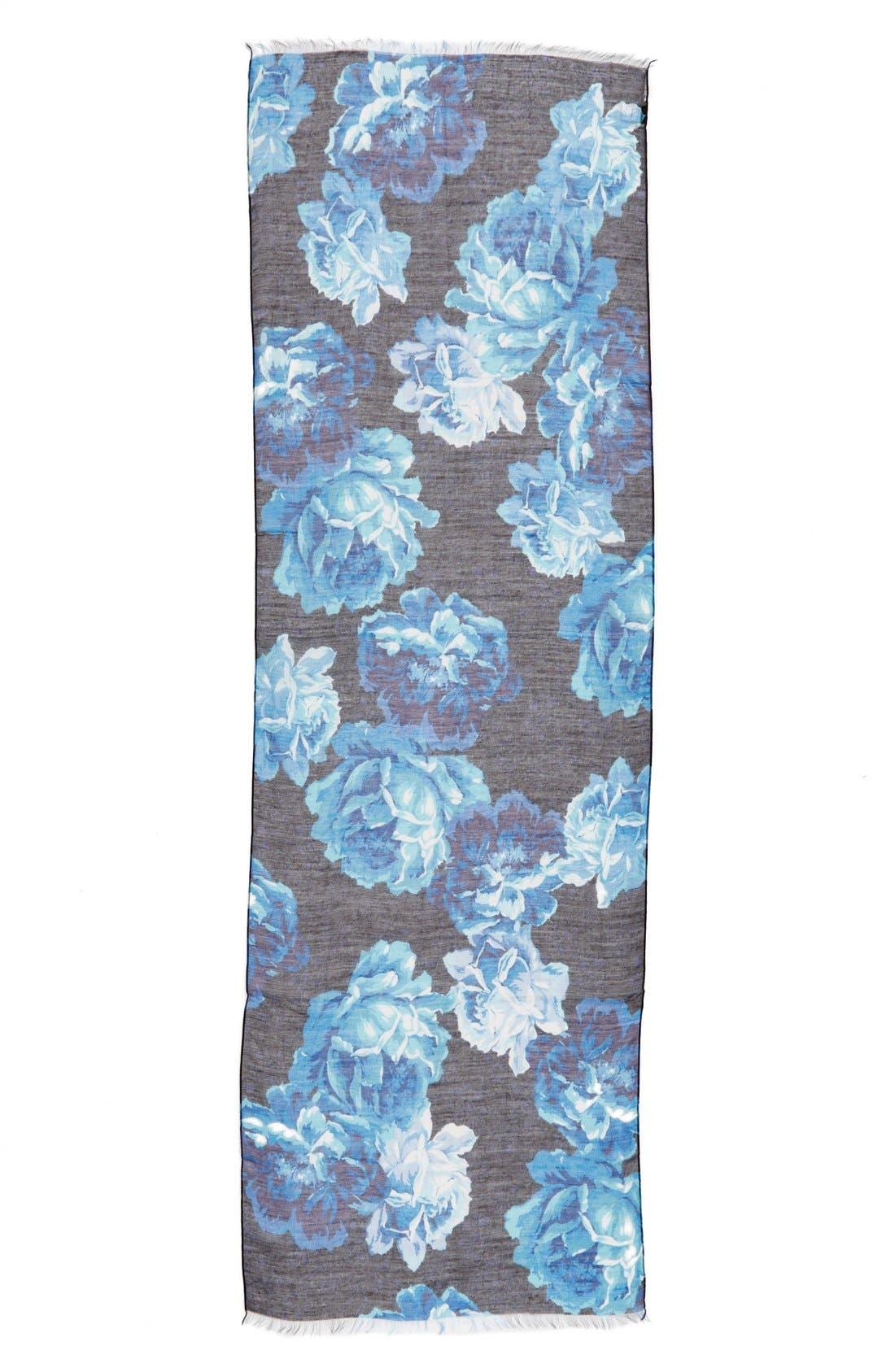 'Sheer Rose' Floral Print Modal & Silk Scarf,                             Alternate thumbnail 4, color,