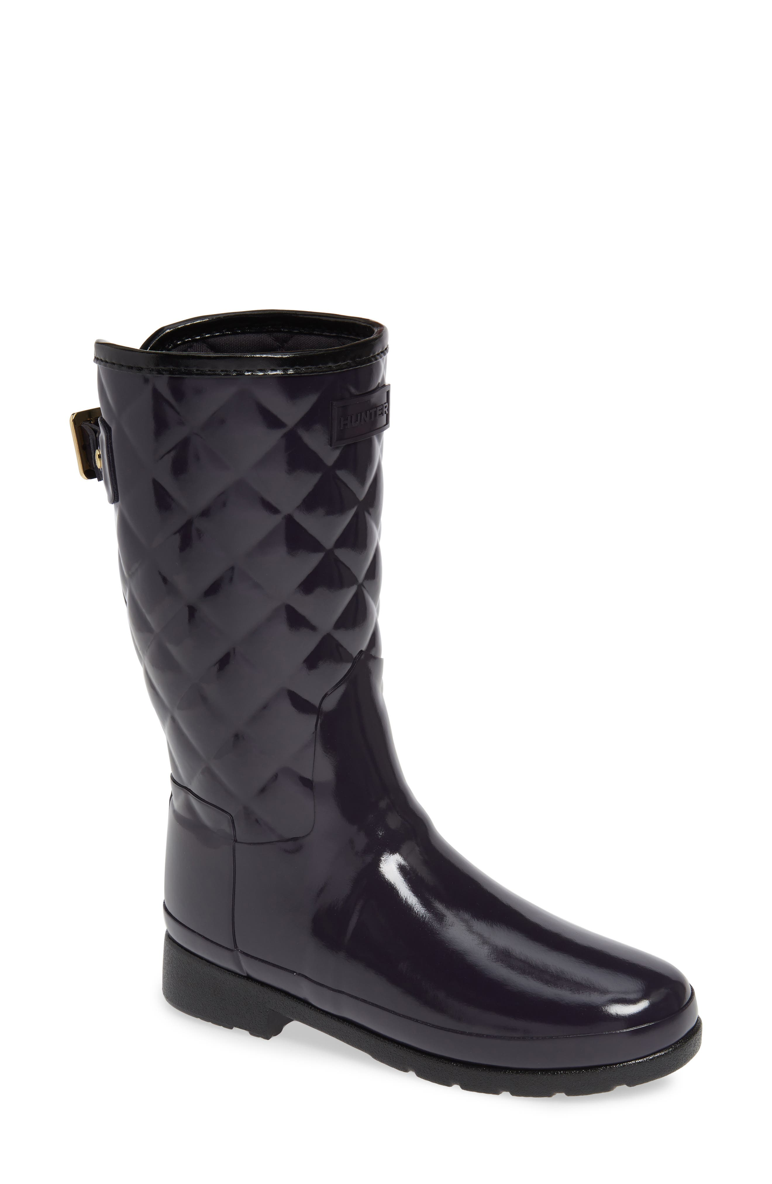 Refined High Gloss Quilted Short Waterproof Rain Boot,                             Main thumbnail 1, color,                             AUBERGINE