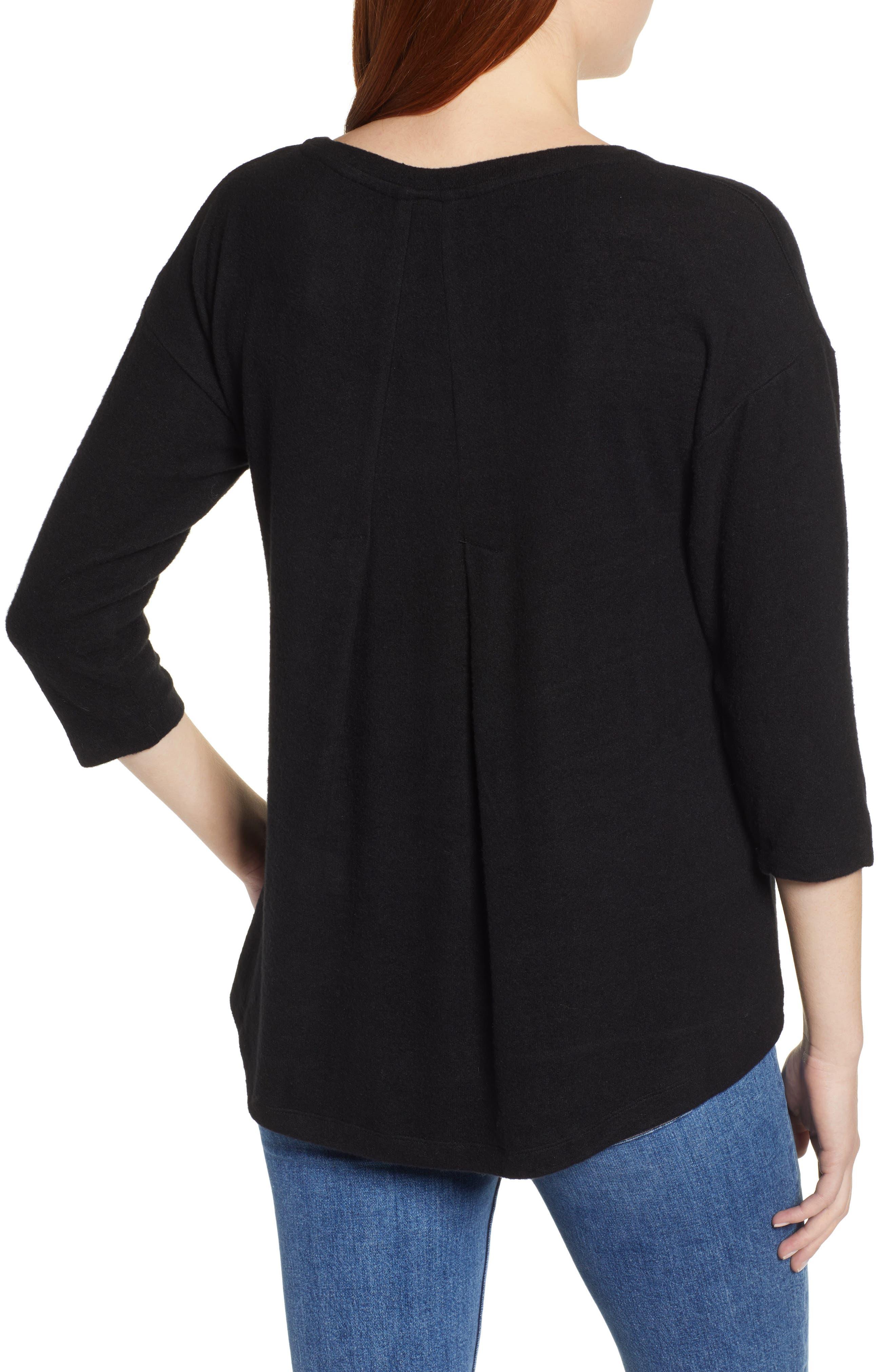 BOBEAU,                             Pleat Back Pullover,                             Alternate thumbnail 2, color,                             001